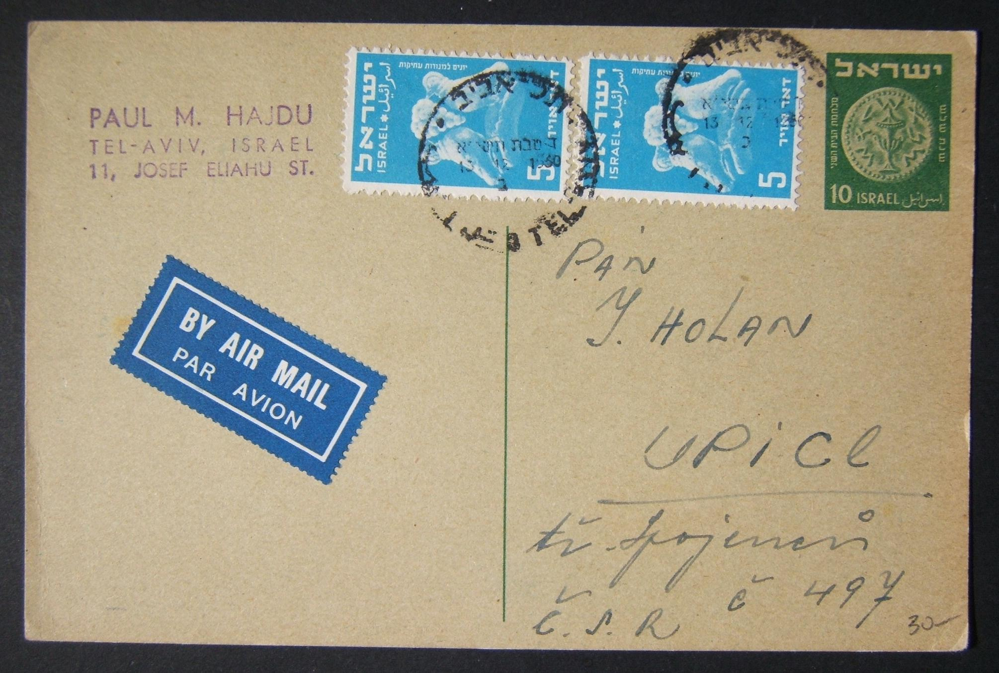 1950 1st airmail / PO's, rates & routes: 13-12-1950 Israeli postal stationary airmailed postcard (Ba-PC.1) ex TLV to CZECHOSLOVAKIA franked 20pr at the FA-2a period pc rate for Eur