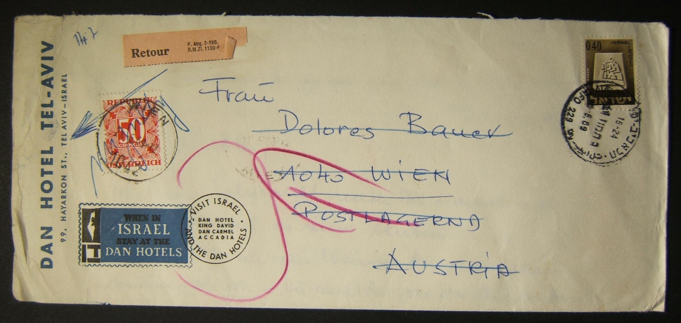1969 returned taxed mail to Austria: 18-6-69 airmail Dan Hotel stationary cover ex TLV to VIENNA (