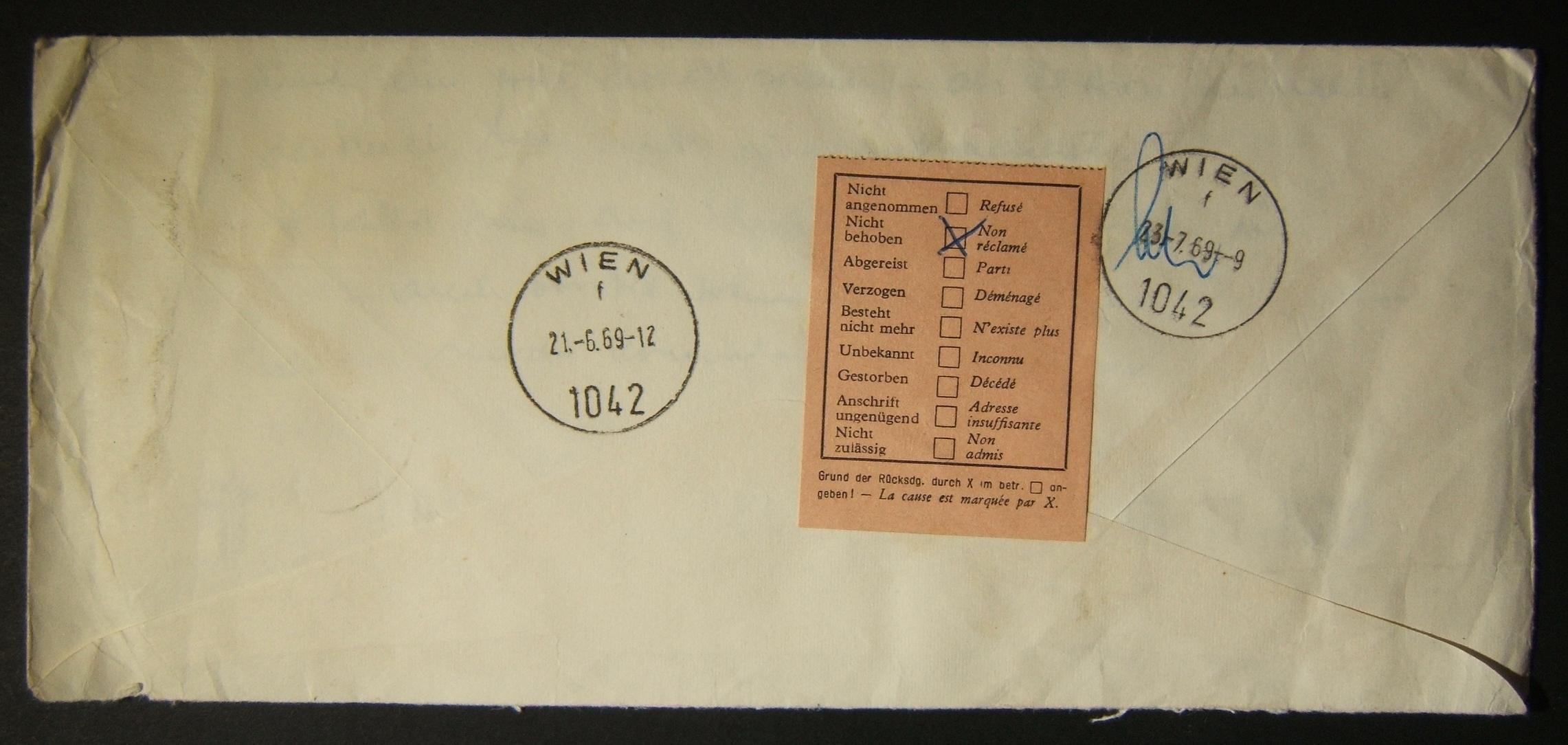 Briefmarken Philatelie Und Ephemera 1969 Zurückgekommener