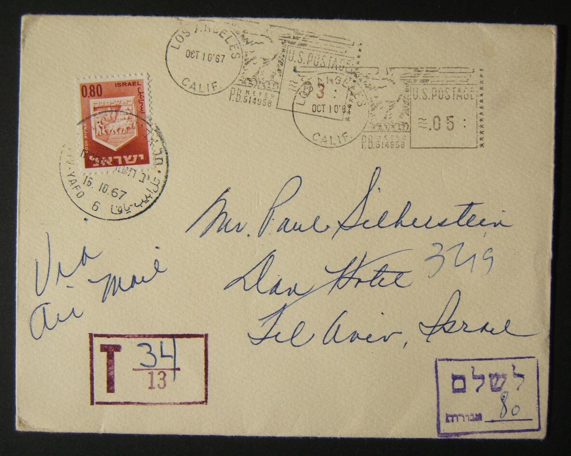 1967 incoming US taxed mail: OCT 10 '67 airmail cover ex LOS ANGELES to TLV meter franked twice $0.03 & $0.05 but underfranked for airmail and taxed in Israel 0.80L using 1965/67 1