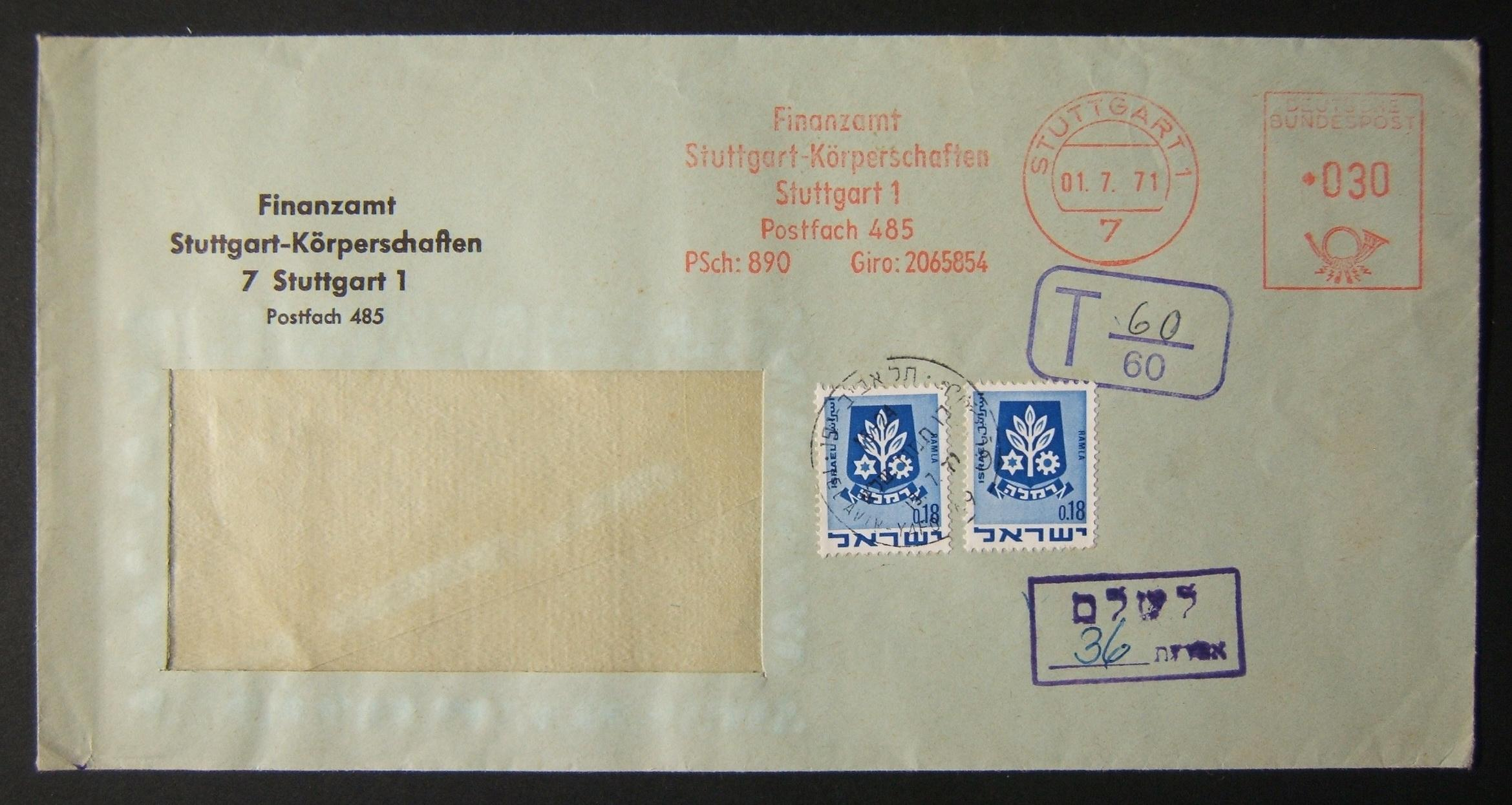 1971 incoming German taxed mail: 1-7-71 airmail(?) window commercial cover ex STUTTGART to TLV underfranked at 0.30DM and taxed 0.36L in Israel, paid 19-7-71 using2x 0.18L 1969 2nd