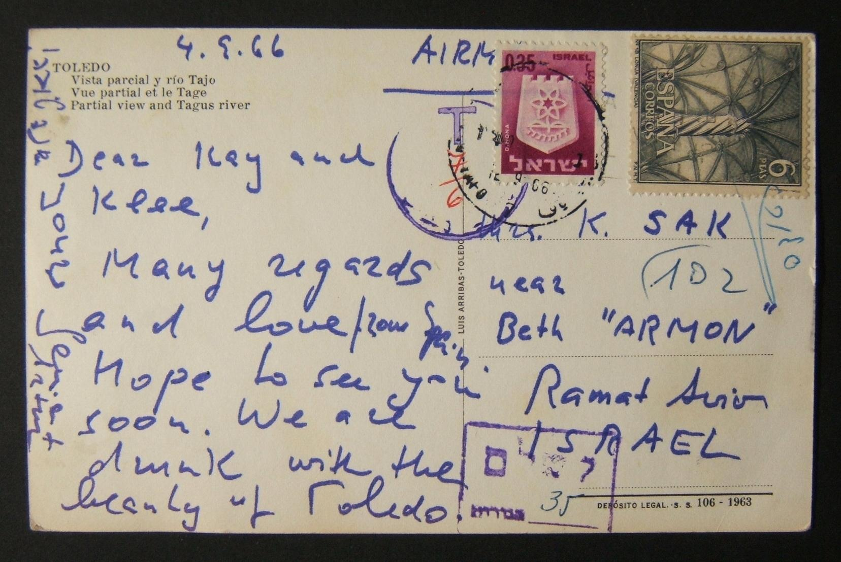 1966 Incoming Spanish Taxed Mail 5 SET 66 Airmail Ppc Of Toledo Ex SPAIN To