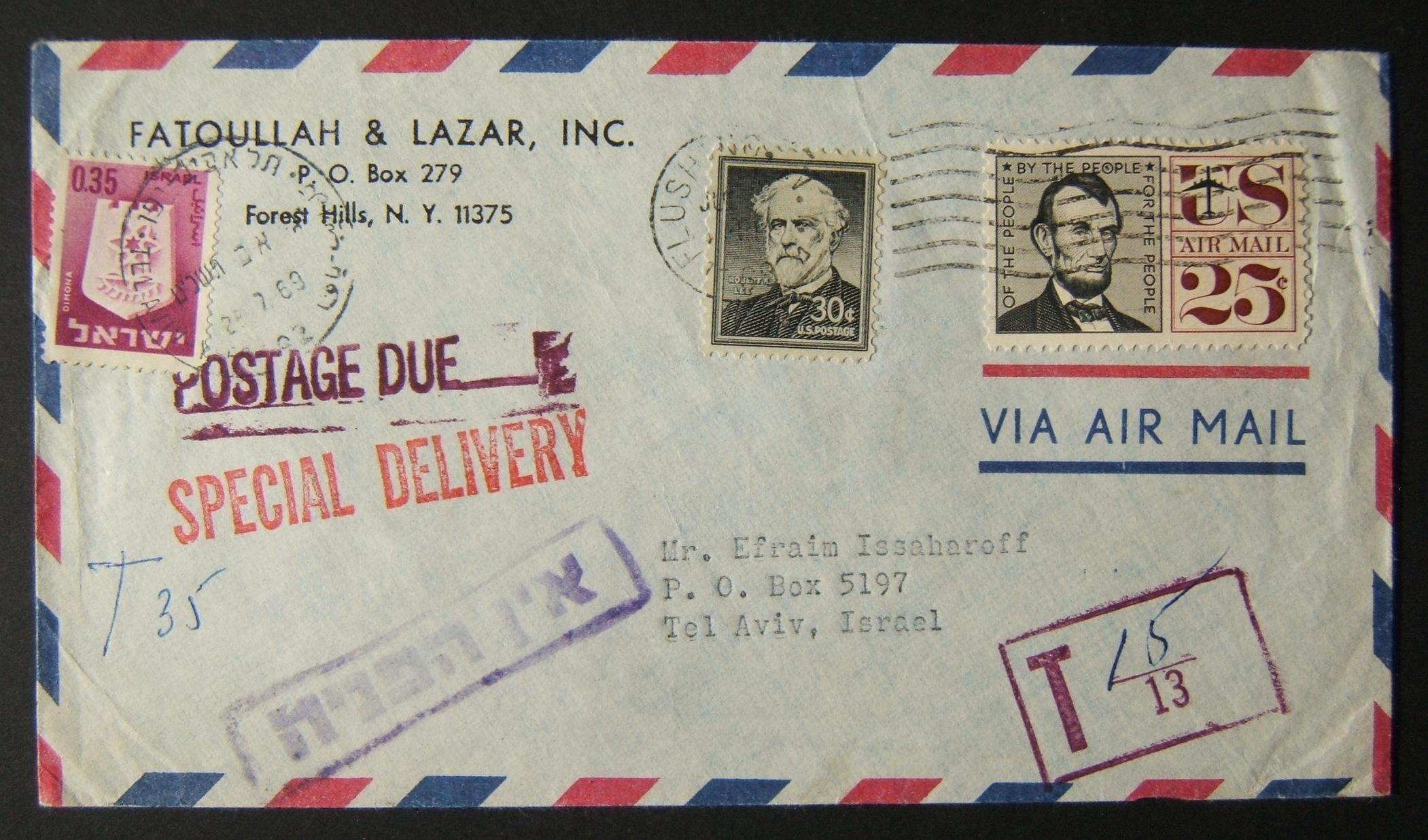 1969 incoming US taxed mail: JUL 1969 airmail special delivery commercial cover ex FLUSHING to TLV underfranked at $0.55 and taxed 0.35L in Israel, paid 28-7-69 using 1965/67 1st T