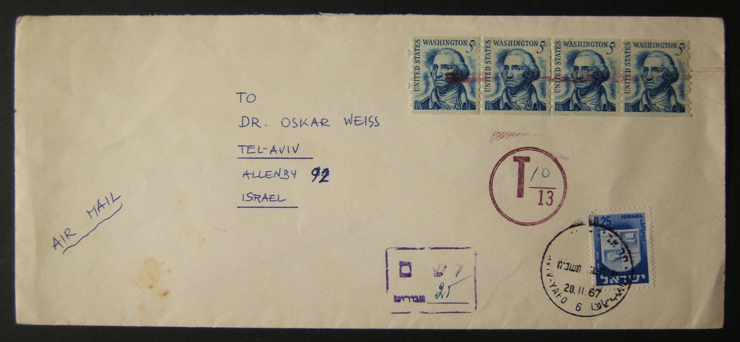 1967 incoming US taxed mail: Nov. 1967 airmail commercial cover ex NYC to TLV underfranked at $0.20 and taxed 0.25L in Israel, paid 20-11-67 using 1965/67 1st Town Emblems Ba309 fr