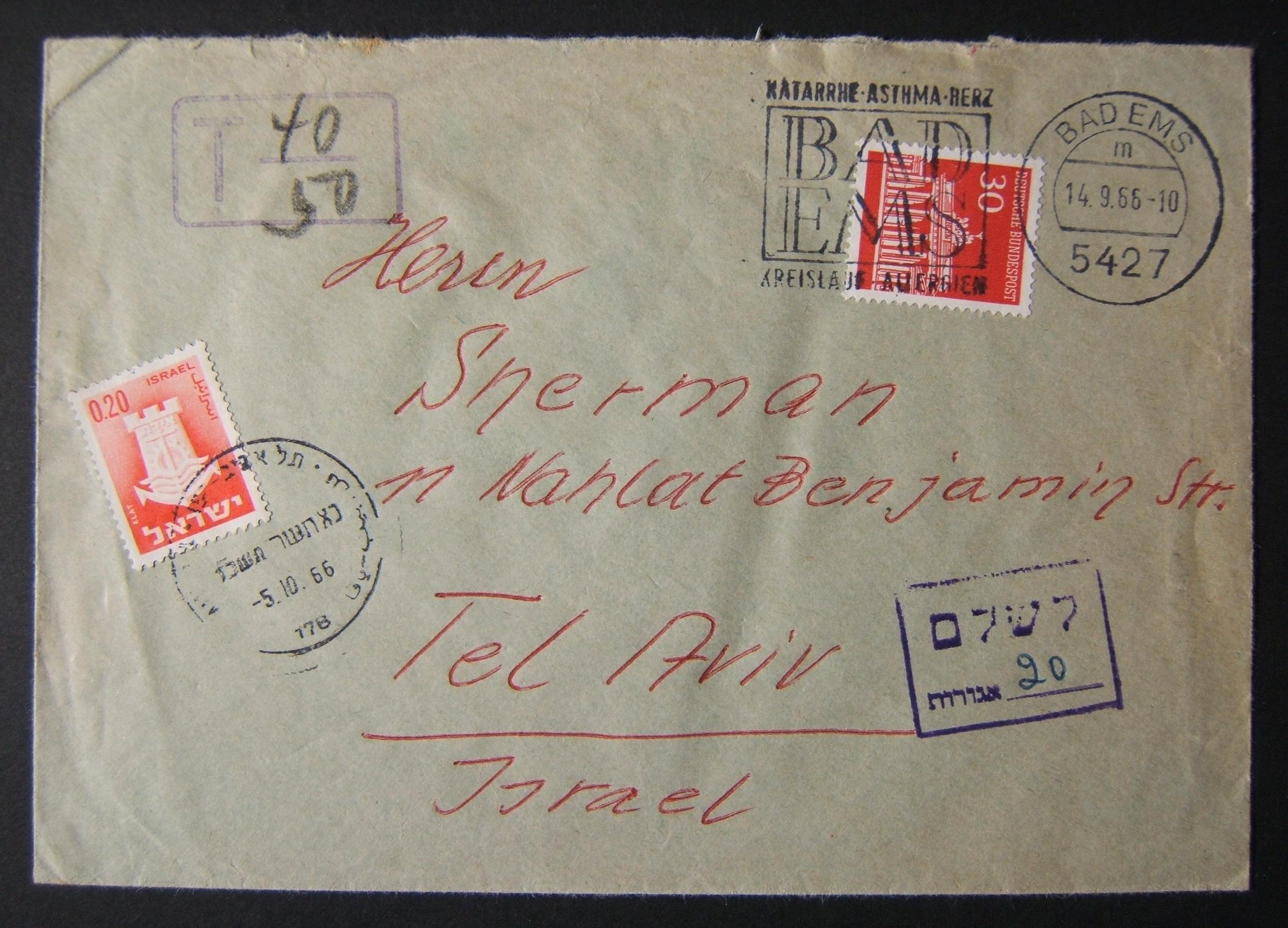 1966 incoming German taxed mail: 14-9-66 surface mailed commercial cover ex BAD EMS to TLV underfranked at 0.30DM and taxed 0.20L in Israel, paid 5-10-66 using 1965/67 1st Town Emb