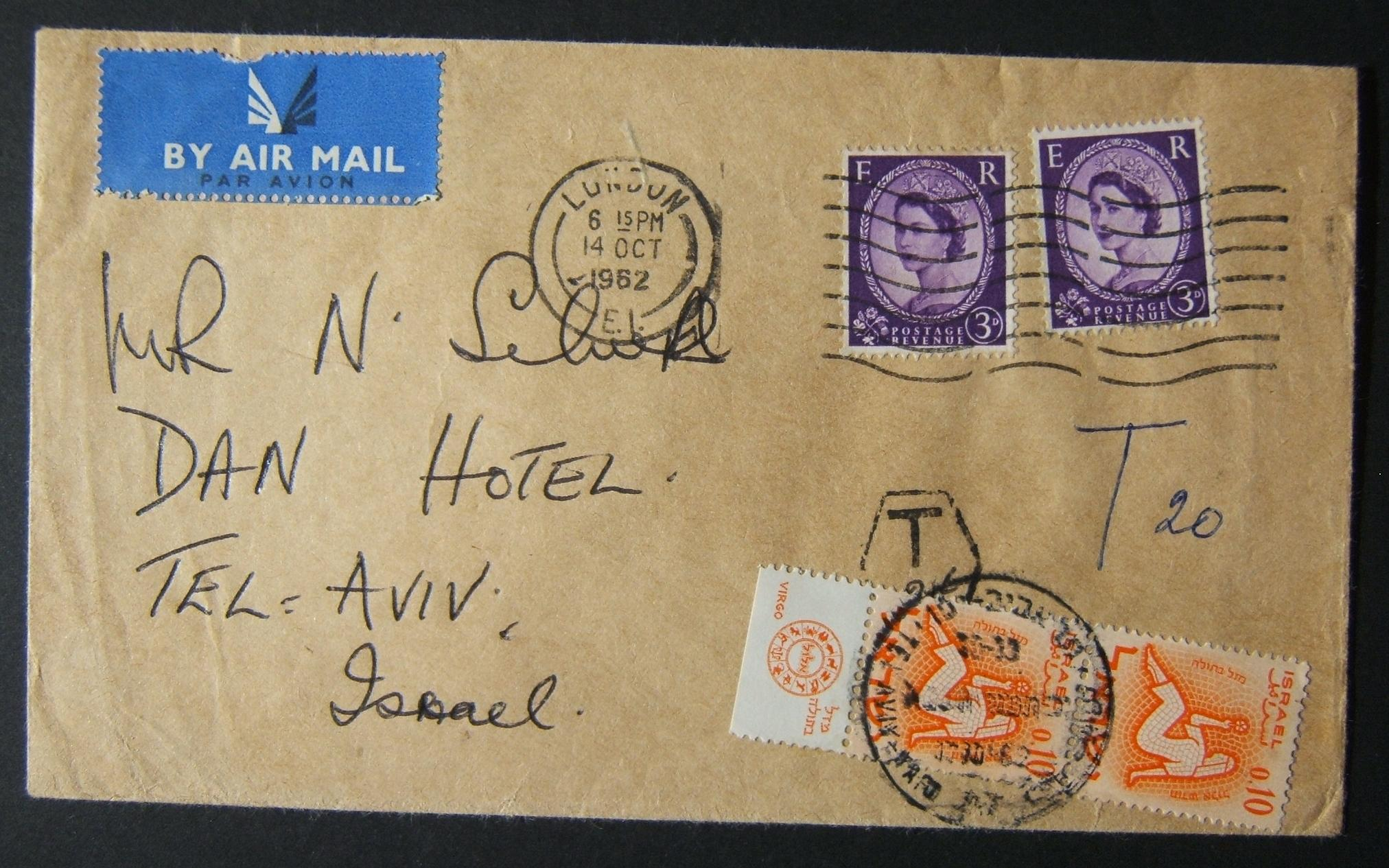 1962 incoming British taxed mail: 14 OCT 1962 airmail commercial cover ex LONDON to TLV underfranked at 6d and taxed 0.20L in Israel, paid 17-10-62 using tabbed vert pair 0.10L 196