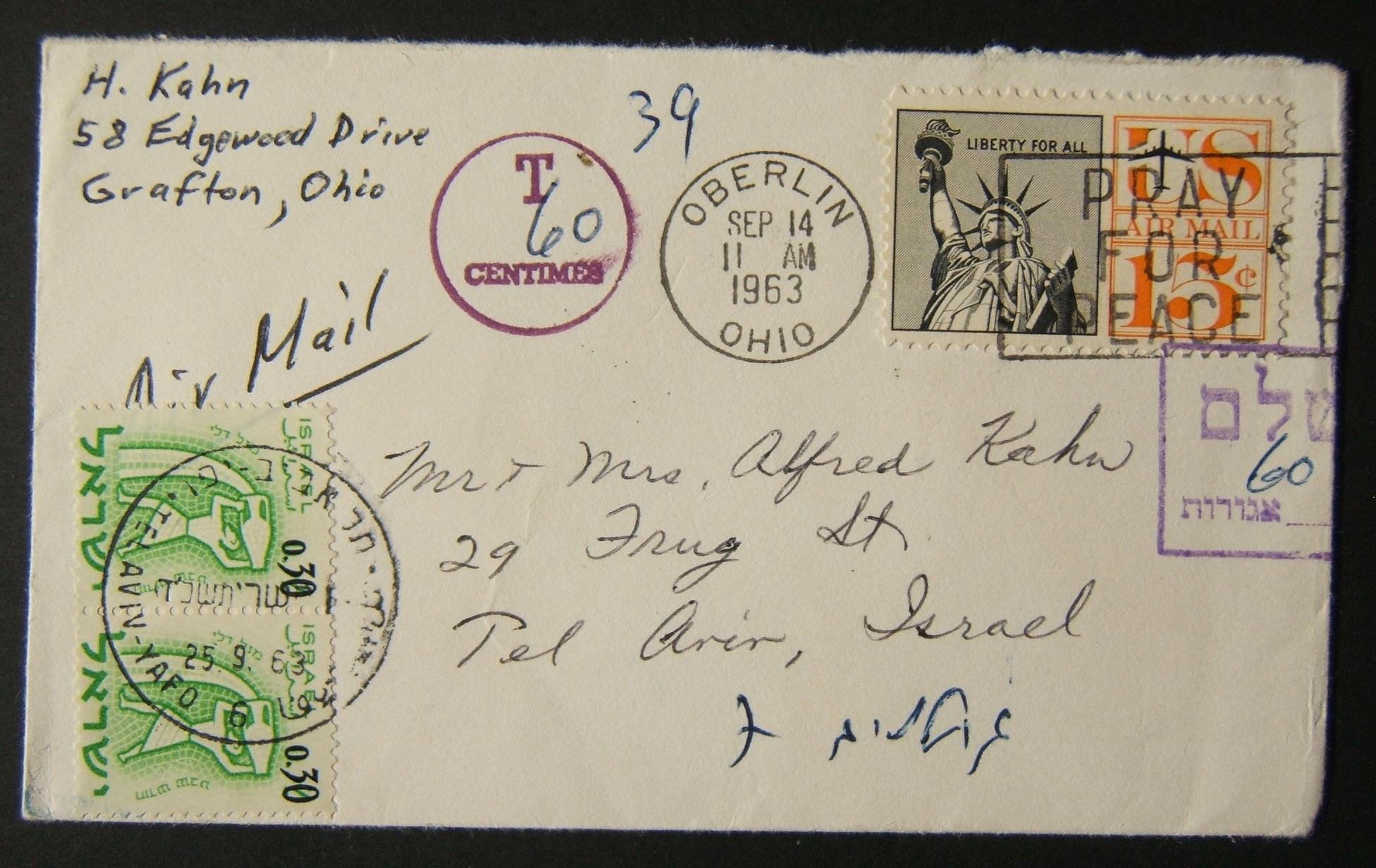 1963 incoming US taxed mail: SEP 14 1963 small airmail cover ex OHIO to TLV underfranked at $0.15 and taxed 0.60L in Israel, paid 25-9-63 using pair 0.30L 1962 ovpt'd Zodiac Ba238