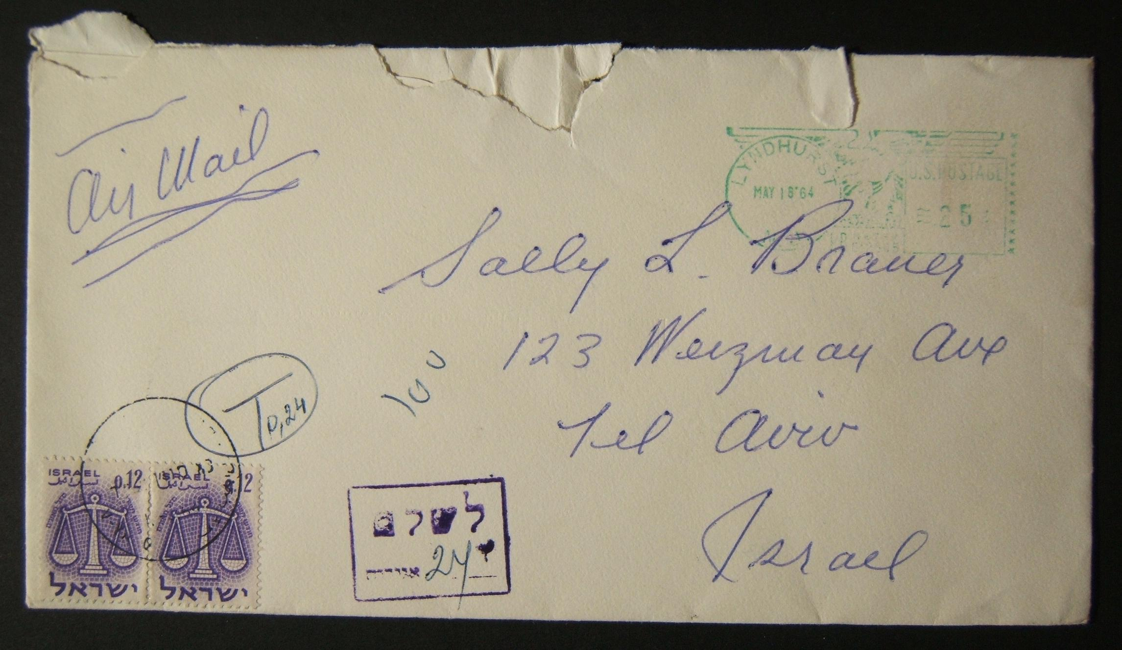 1964 incoming US taxed mail: MAY 18 '64 airmail cover ex LYNDHURST (return address NYC) to TLV underfranked at $0.25 and taxed 0.24L in Israel, paid 1-6-64 using pair 0.12L 1961 Zo