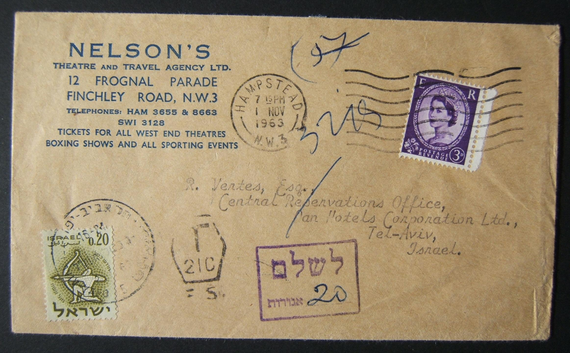 1963 incoming British taxed mail: 1 NOV 1963 surface mailed business stationary commercial cover ex HAMPSTEAD to TLV underfranked at 3d and taxed 0.20L in Israel, paid 26(?)-11-63