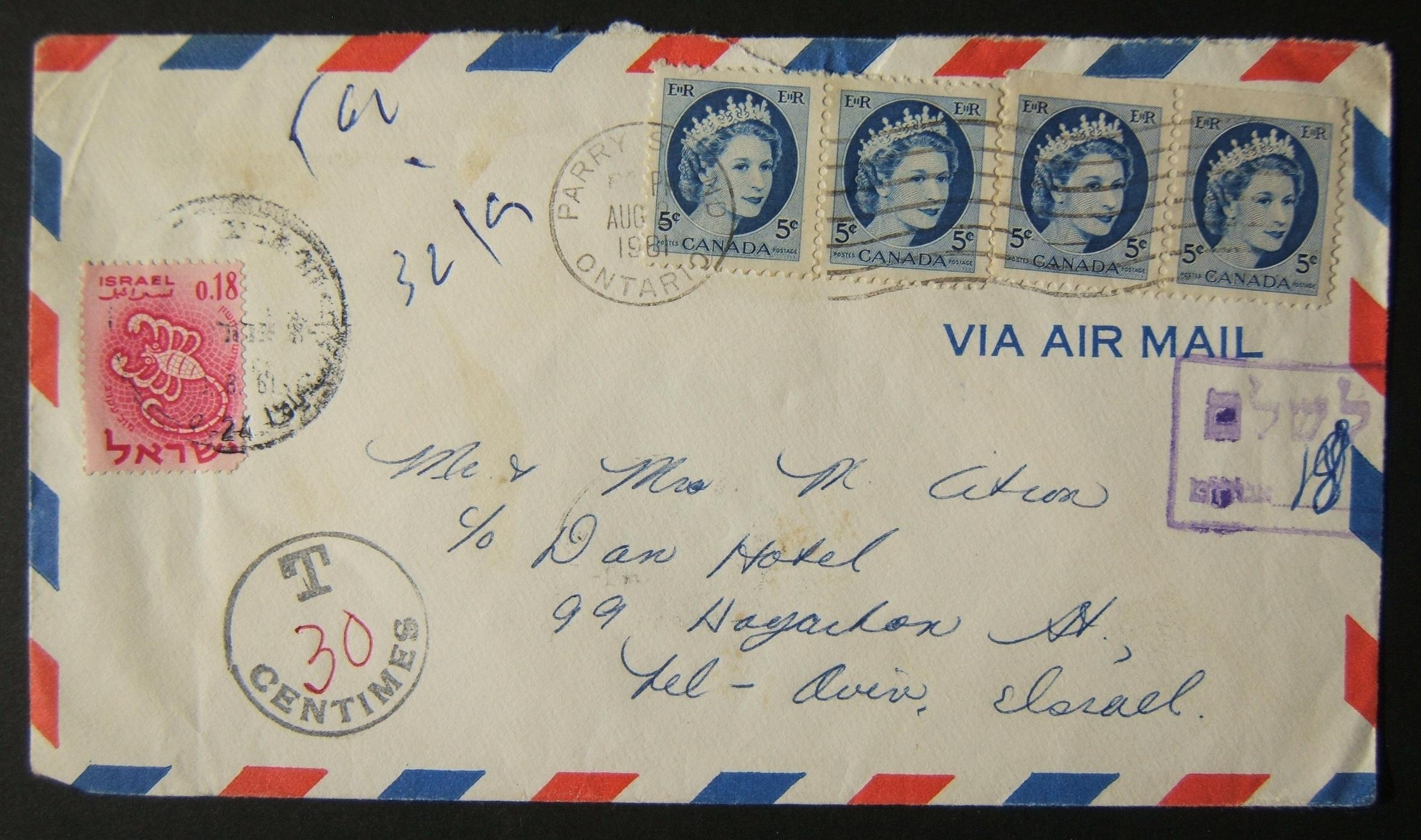 1961 incoming Canadian taxed mail: AUG 2 1961 airmail commercial cover ex ONTARIO to TLV underfranked at $0.20 and taxed 0.18L in Israel, paid 13-8-61 using 1961 Zodiac Ba211 frank