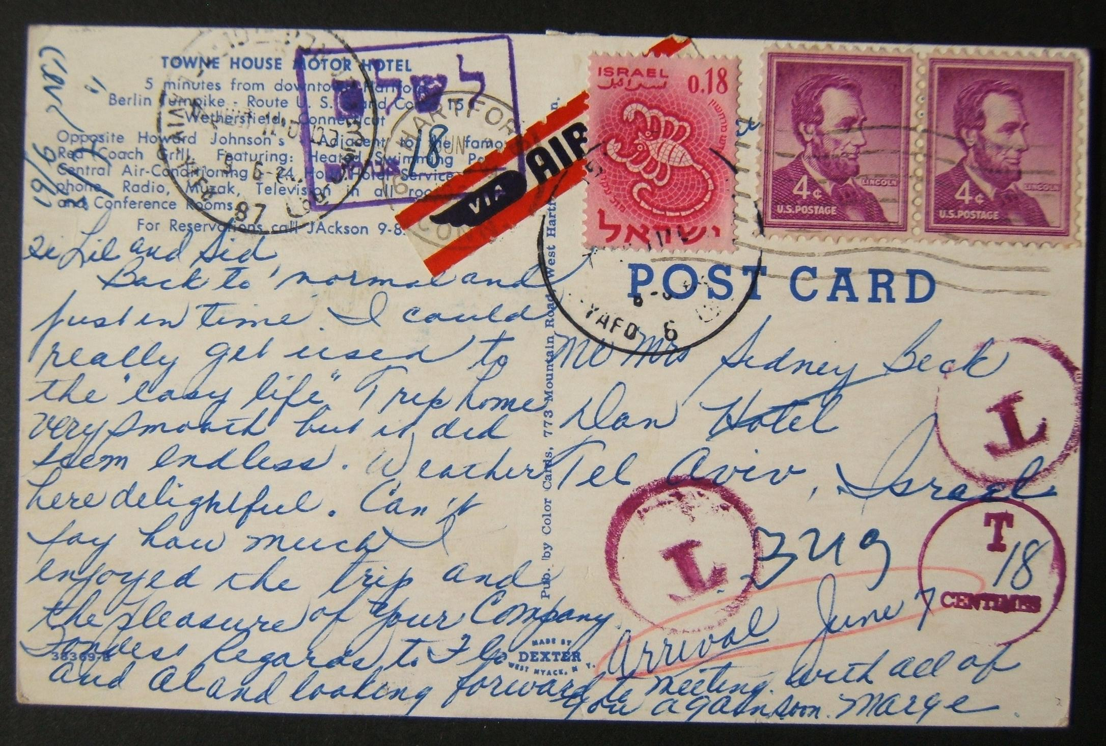 1964 incoming US taxed mail: JUN 2 1964 airmail ppc motor hotel ex HARTFORD to TLV underfranked at $0.08 and taxed 0.18L in Israel, paid 6(?)-6-64 using 1961 Zodiac Ba211 frank tie