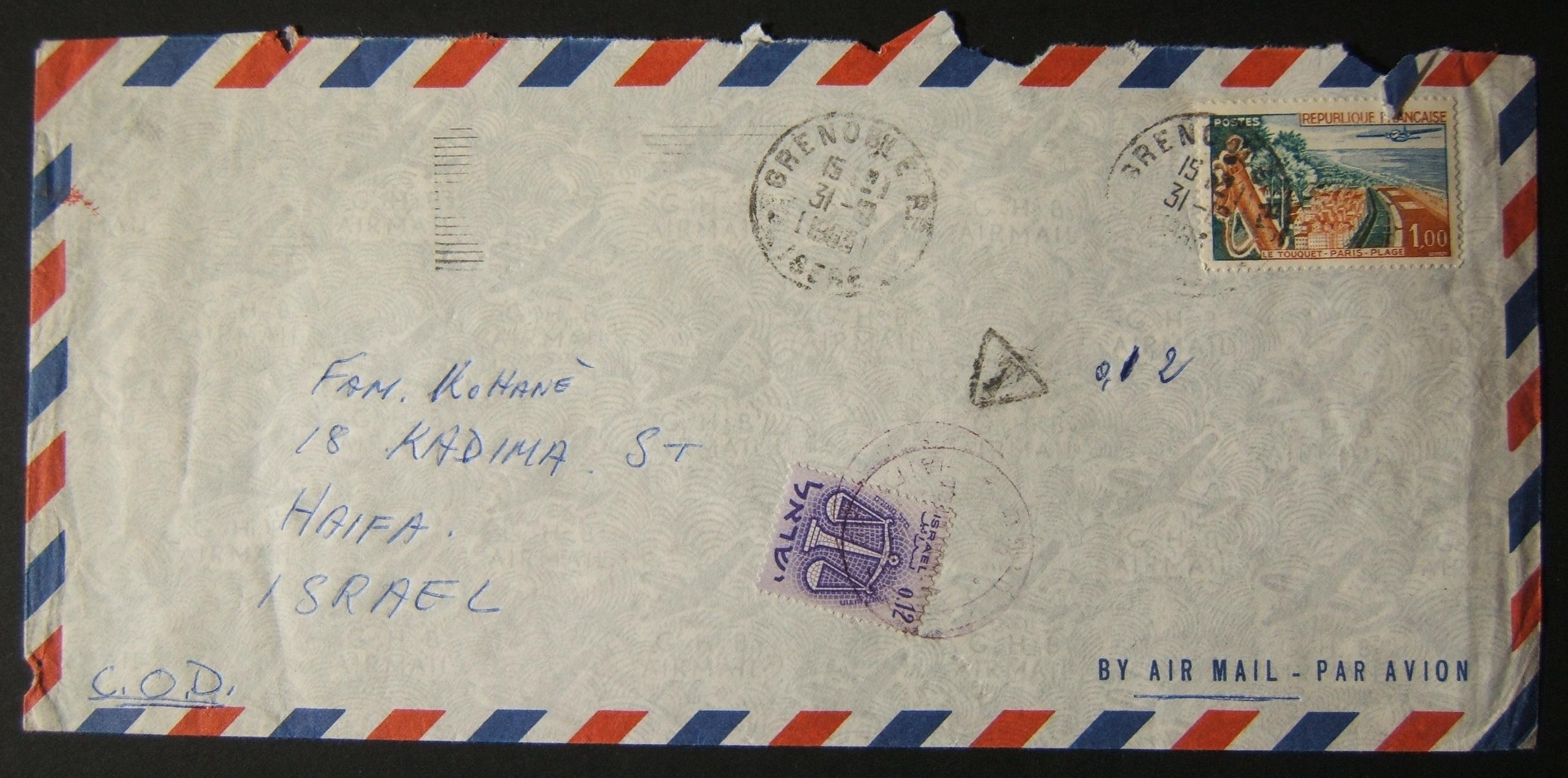 1963 incoming French taxed mail: 31-10-1963 airmail cover ex GRENOBLE to HAIFA marked