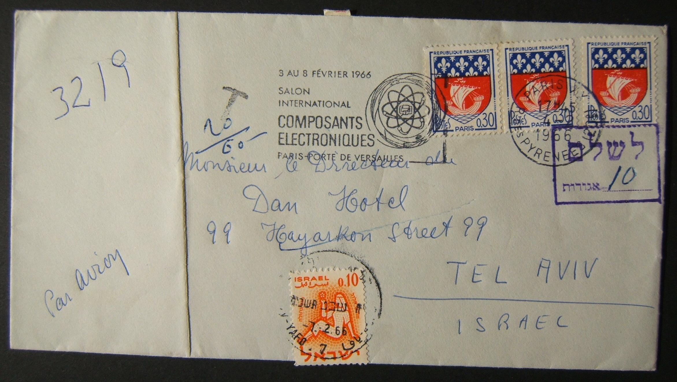 1966 incoming French taxed mail: 4-2-1966 airmail cover ex PARIS to TLV underfranked at 0.90Fr; taxed 0.10L in Israel, paid 7-2-66 using 1961 Zodiac Ba209 frank tied by TLV-7 pmk;