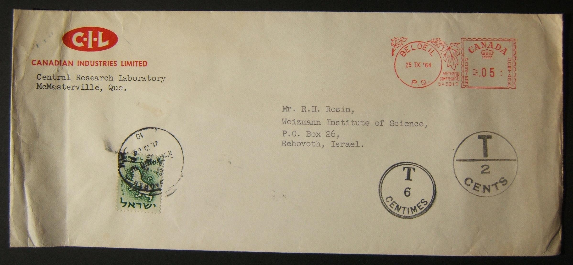 1966 incoming Canadian taxed mail: 25 IX '64 surface mailed commercial cover ex BELOEIL to Weizmann Institute REHOVOT underfranked at $0.05 and taxed 0.08L in Israel (oddly without