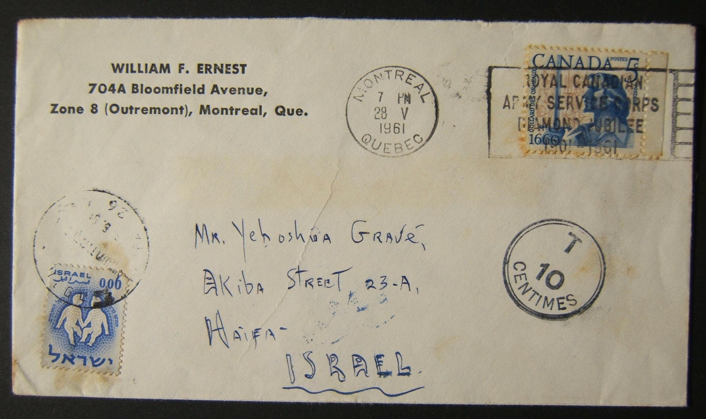 1961 incoming Canadian taxed mail: 28 V 1961 surface mailed cover ex MONTREAL to HAIFA underfranked at $0.05 and taxed 0.06L in Israel (oddly, without local markings), paid 26(?)-6