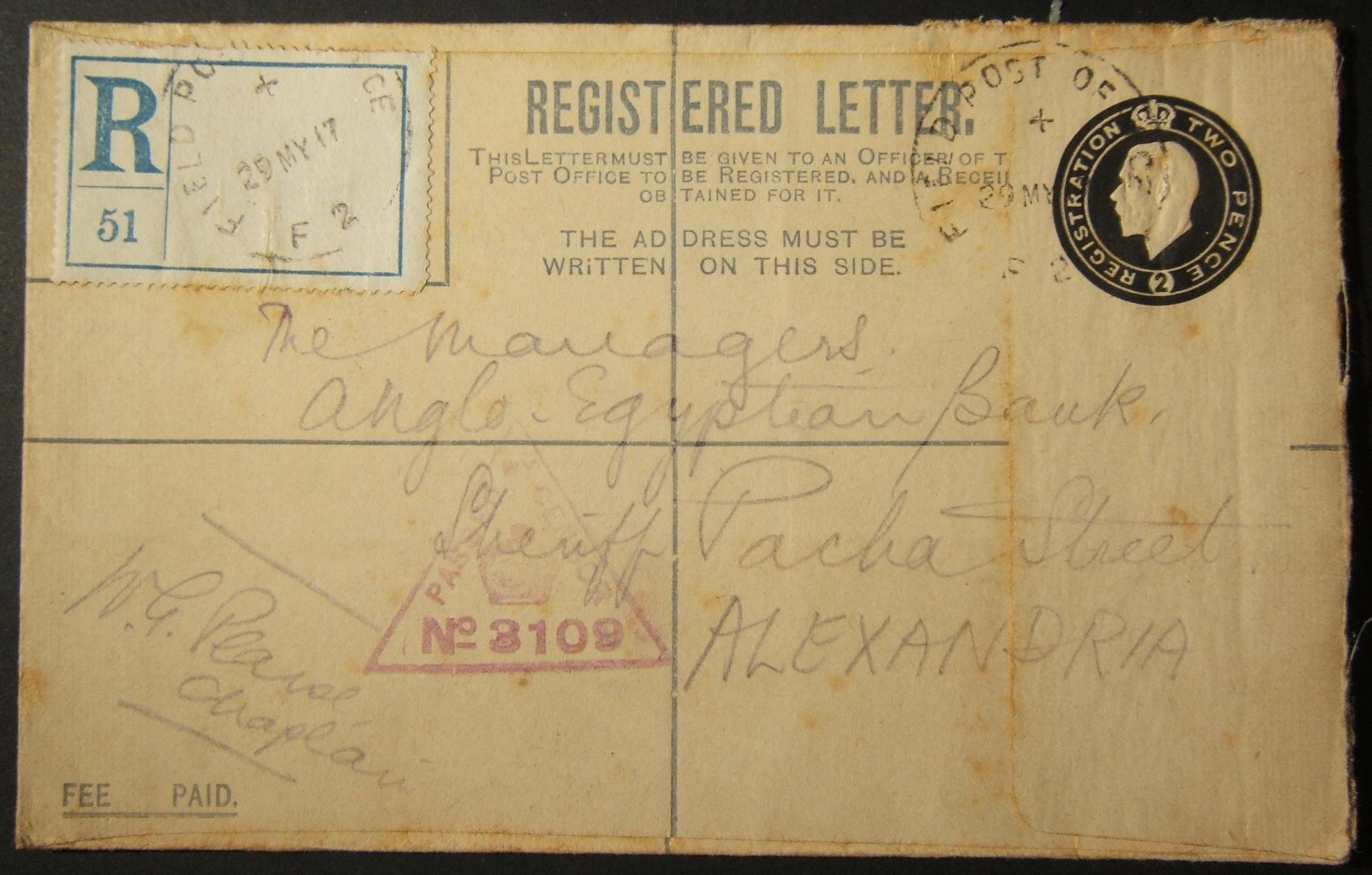 5/1917 WWI British military 2d registered envelope from FPO F2 via Egyptian post