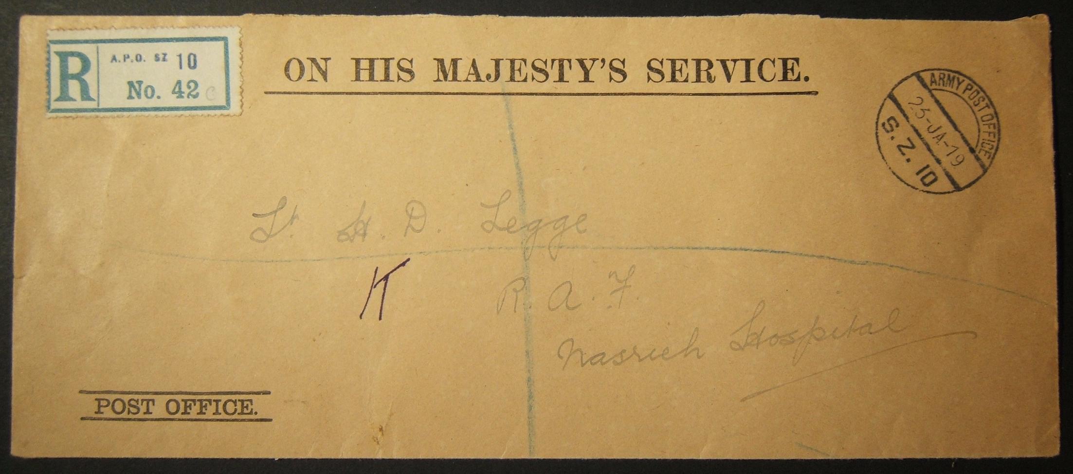 1/1919 WWI Egypt بريد بريطاني غير مقسم من SZ 10 مع ختم بريد إلكتروني نادر