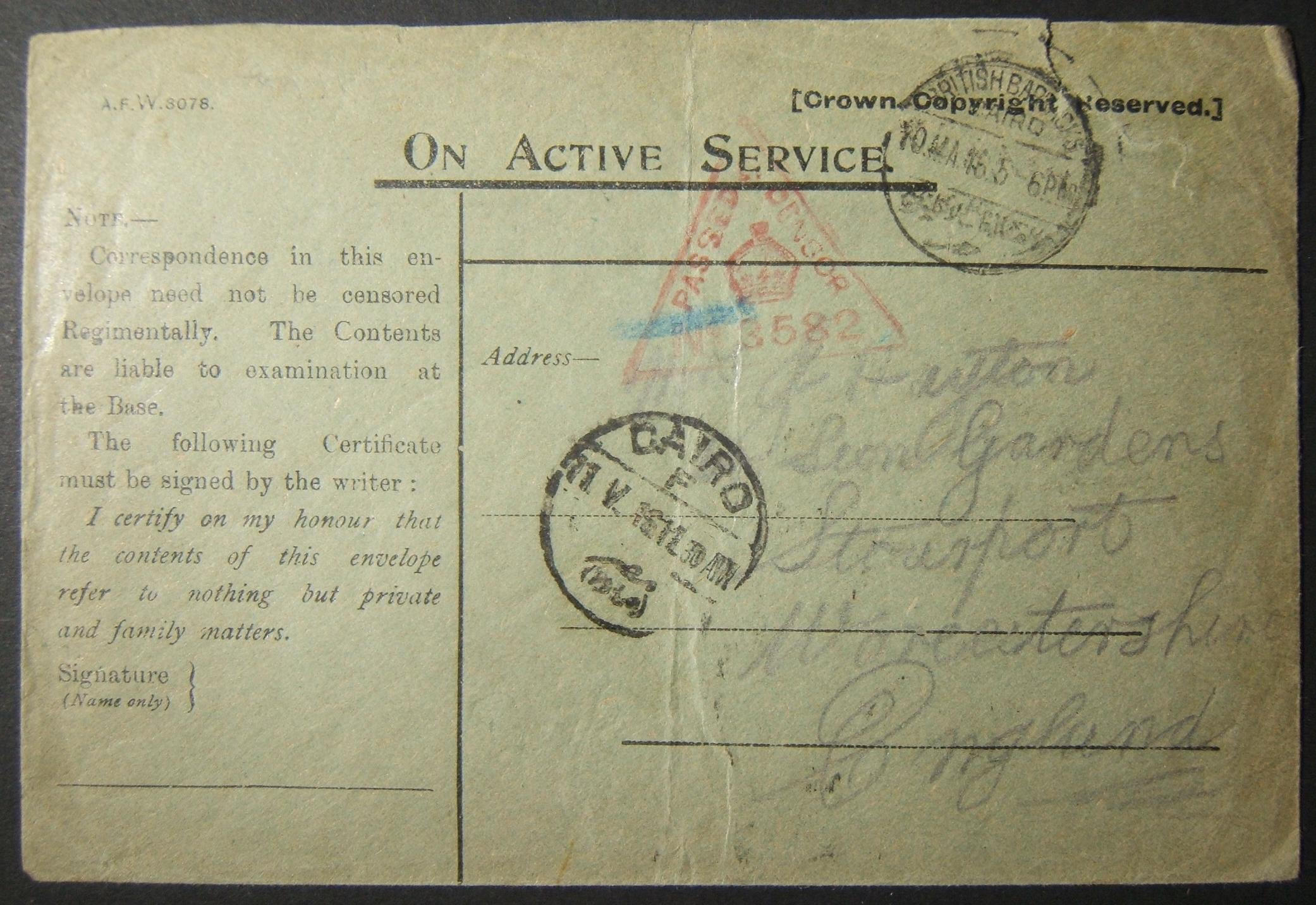 5/1916 WWI British military unsigned & unfranked mail to UK via Egyptian post