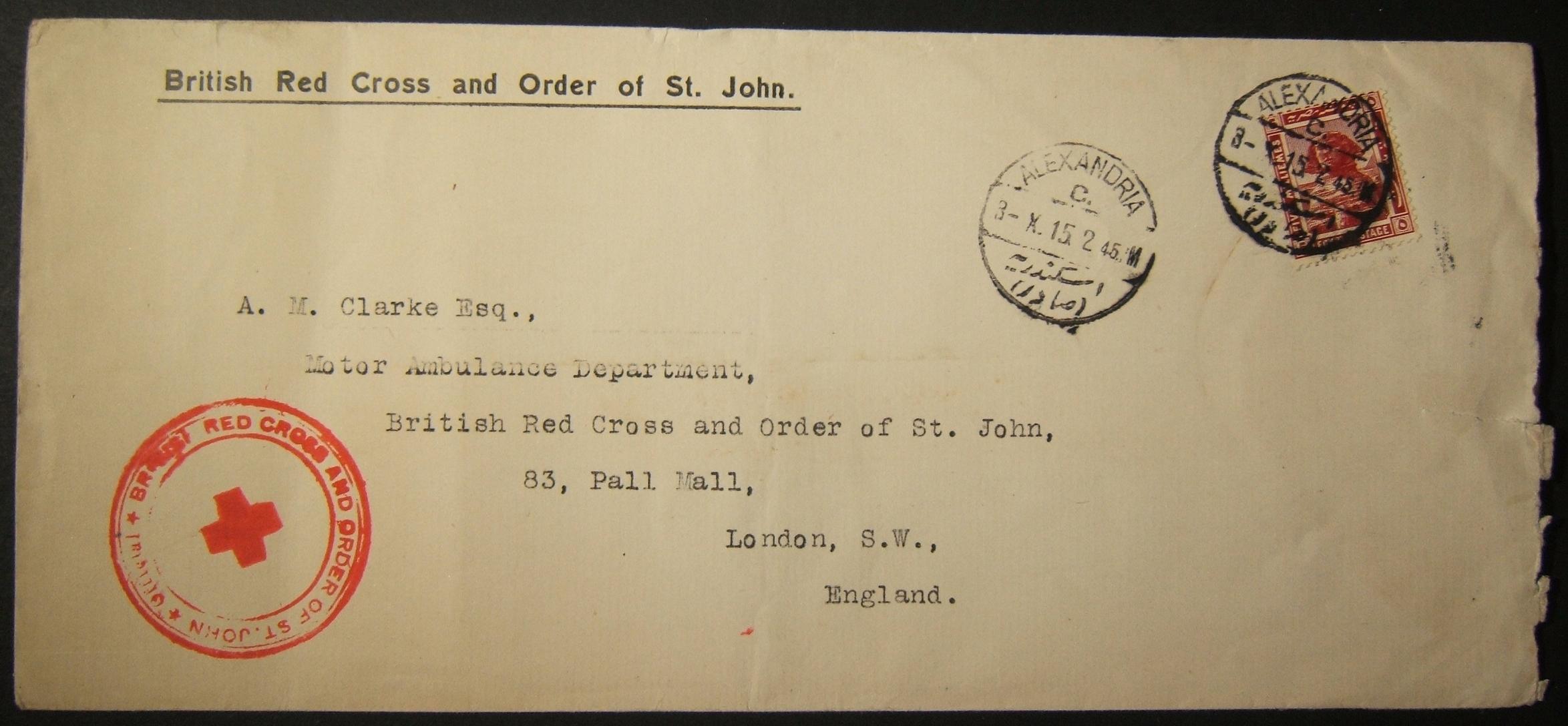 10/1915 WWI כנה הבריטי הצלב האדום / צו סנט ג'ון דואר אל בריטניה דרך הדואר המצרי