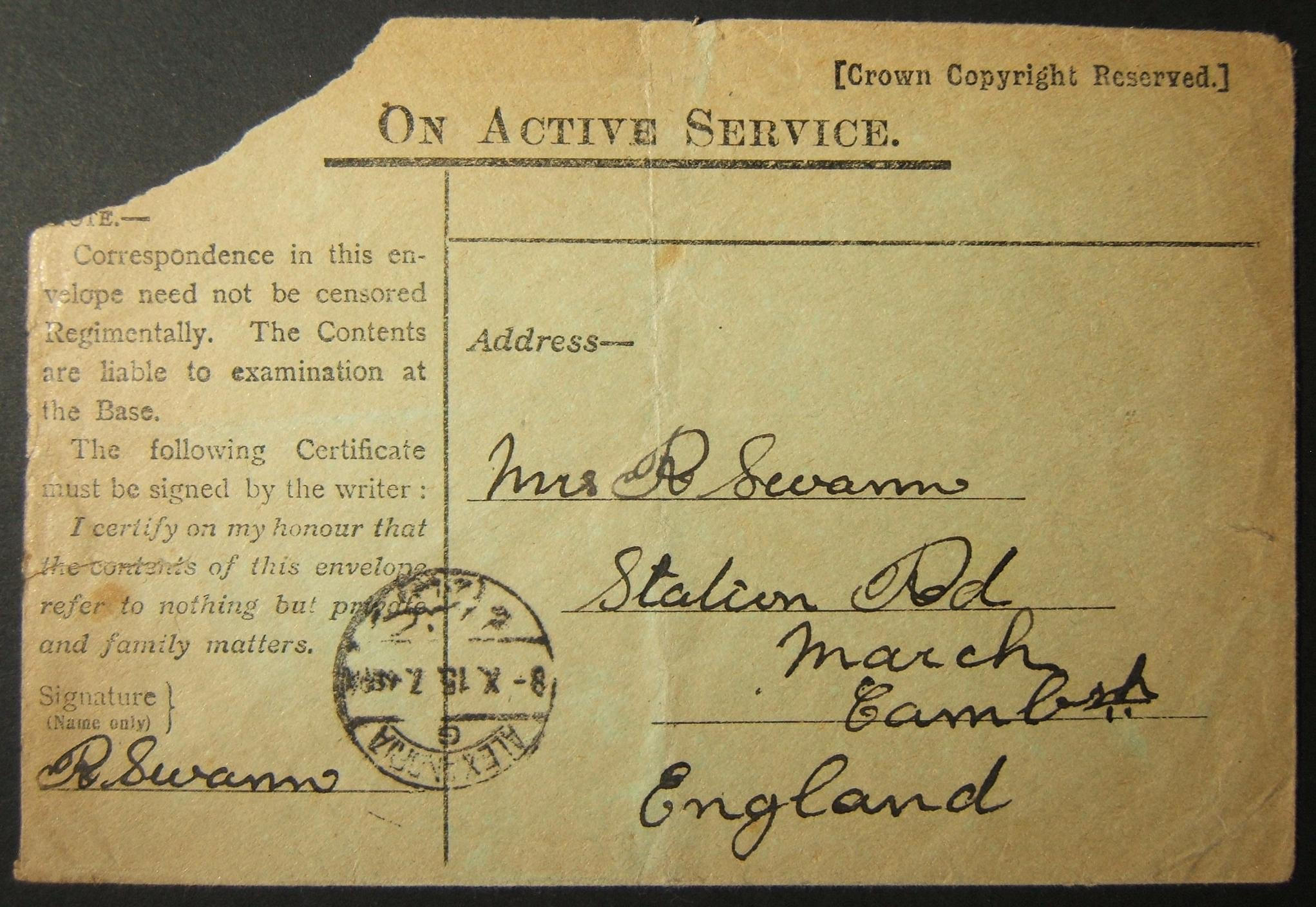 10/1915 إرسال بريد عسكري بريطاني بدون حراسة عبر البريد المصري ، مع أول بريد إلكتروني مؤرخ