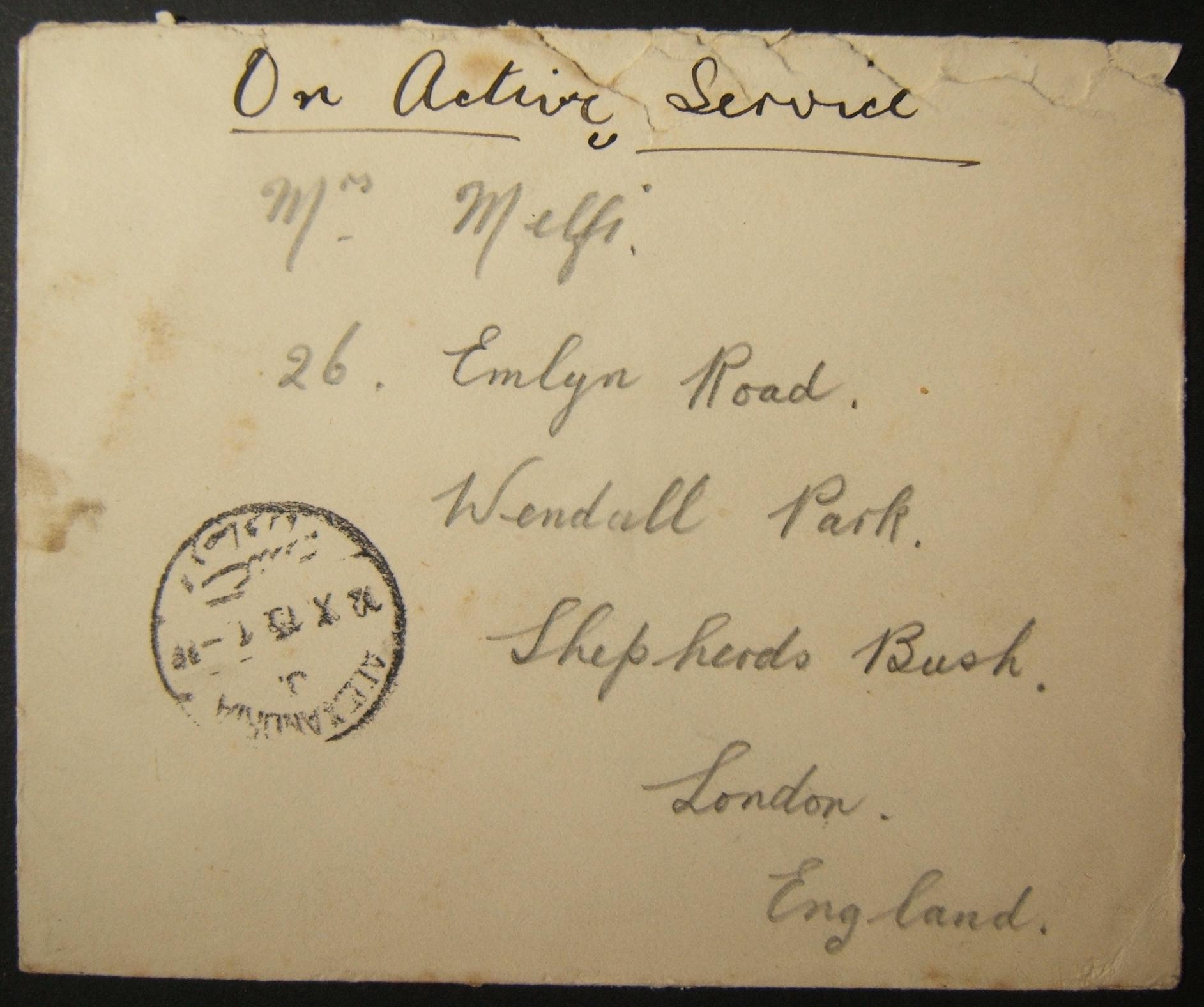 מלחמת העולם הראשונה unranked & unendorsed דואר צבאי בריטי שנשלח באמצעות הדואר המצרי, עם חותמת הדואר המוקדם ביותר