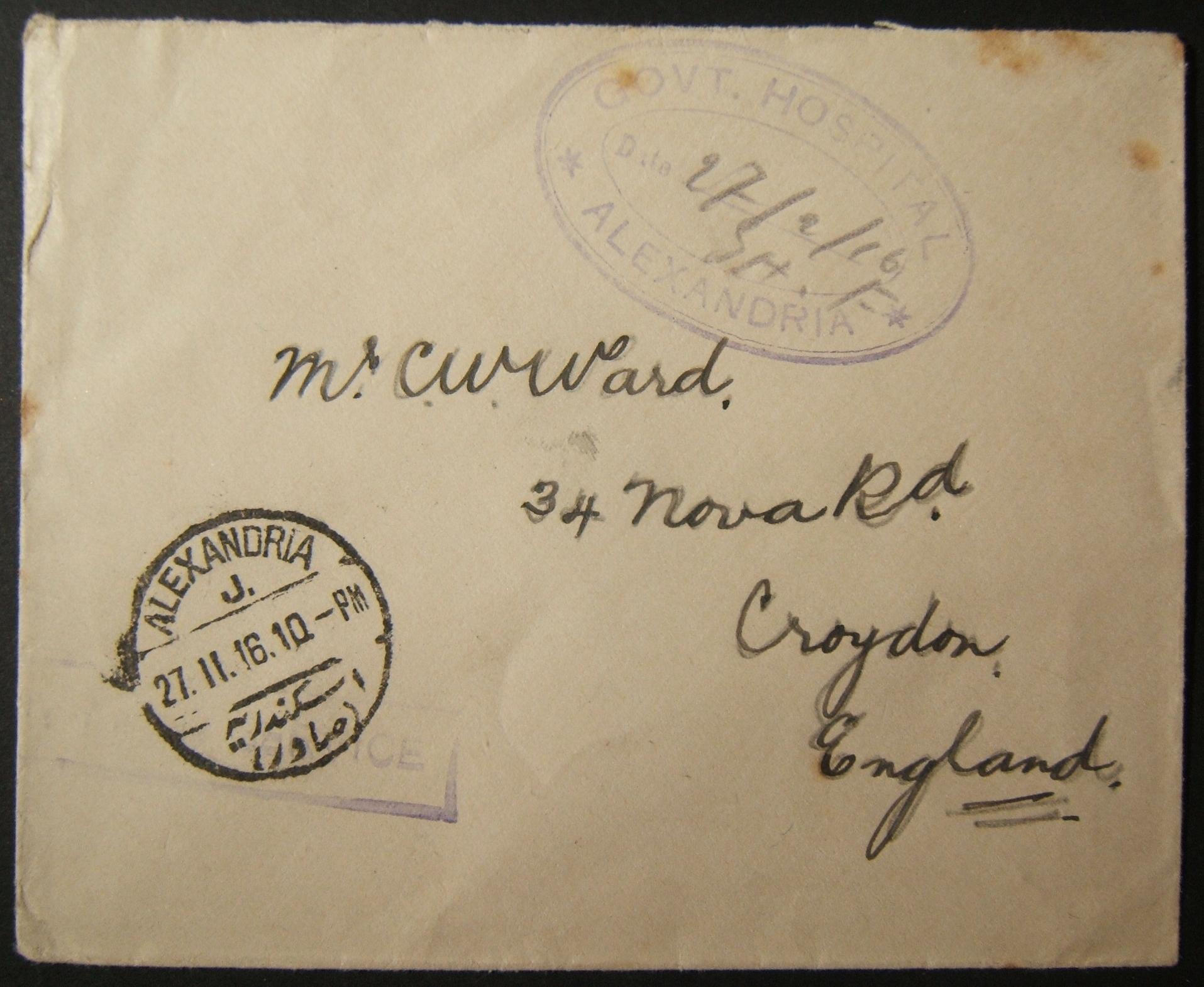 2/1916 WWI unfranked British military mail to UK sent via Egyptian post, with hospital cachet