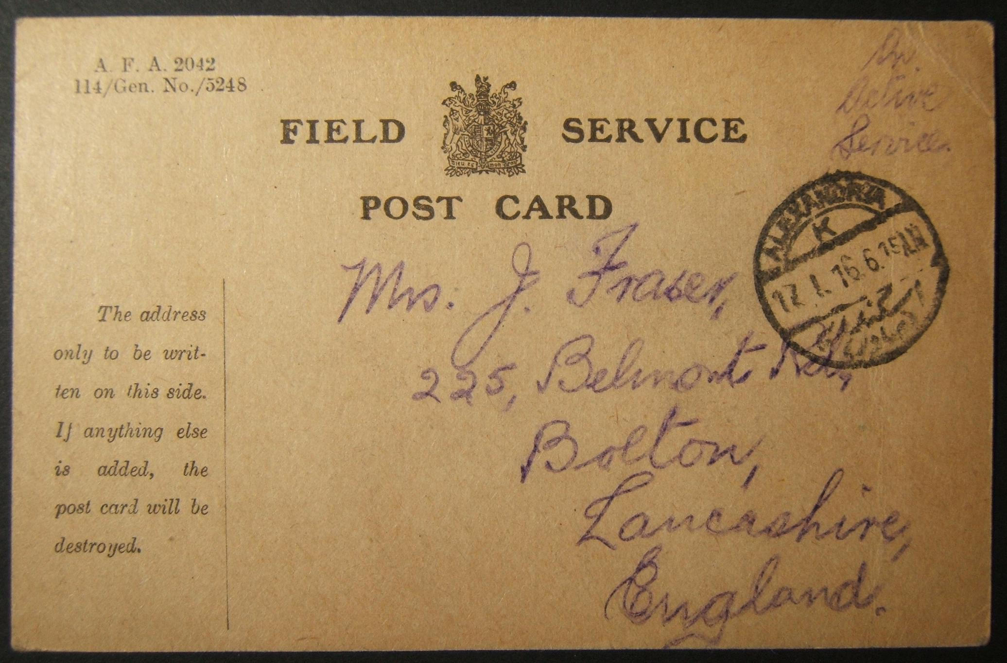 1/1916 WWI unfranked British military mail to UK sent via Egyptian post, with early used postmark