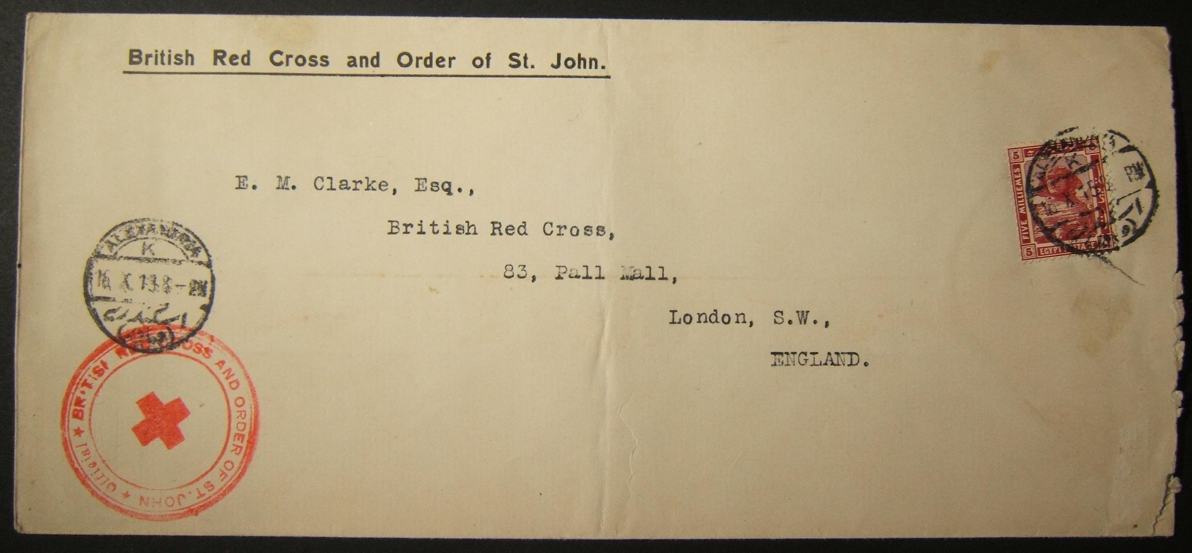10/1915 قام الاتحاد العالمي للصليب الأحمر بإرسال بريد بريطاني إلى المملكة المتحدة عبر البريد المصري