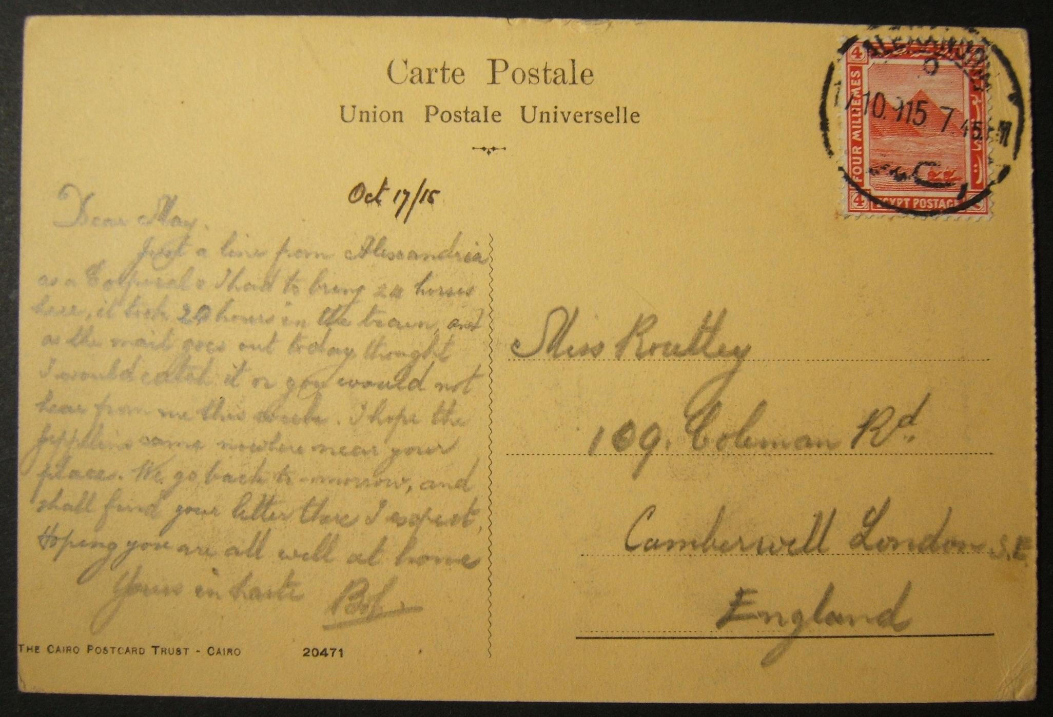 10/1915 WWI franked British civilian mail sent via Egyptian post, with latest dated postmark