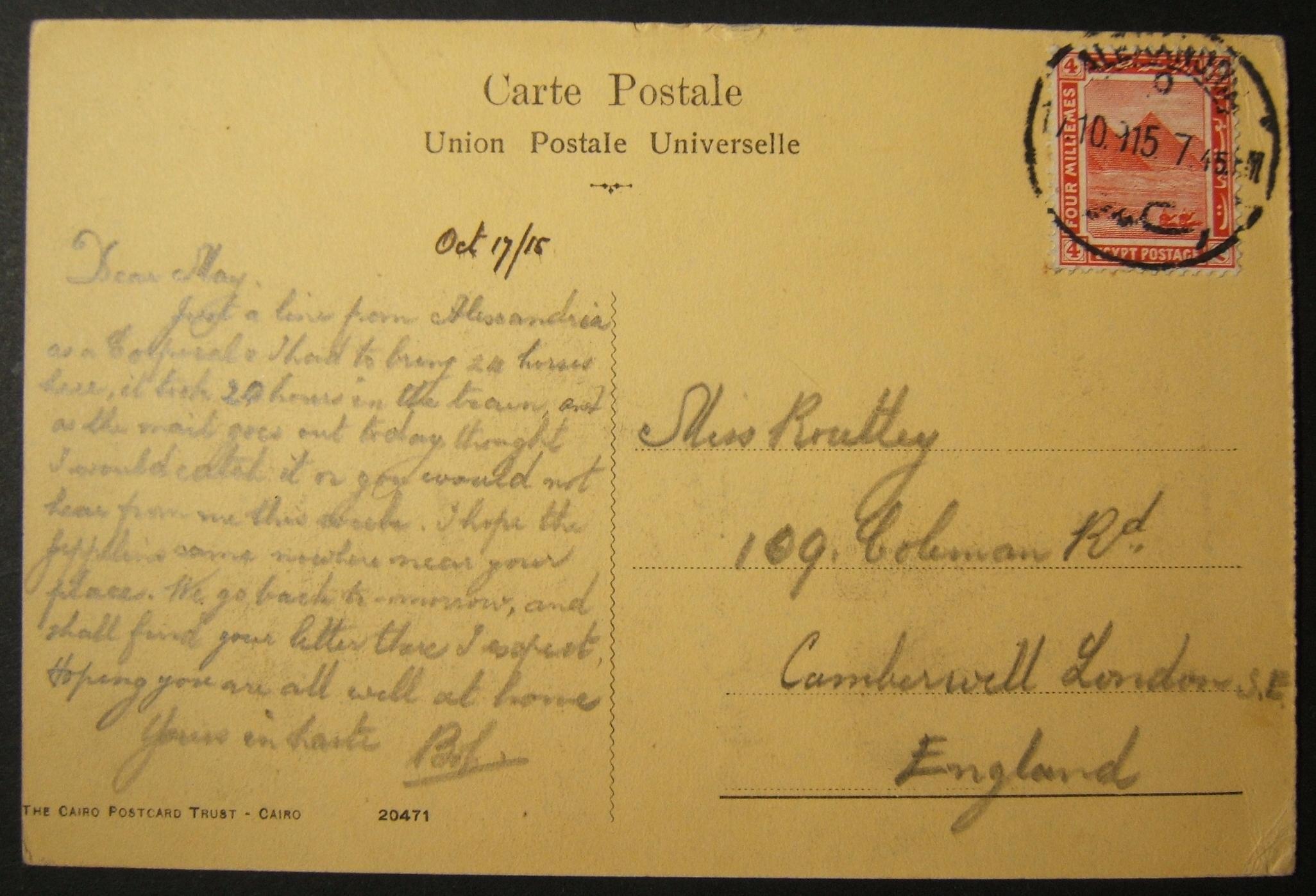 10/1915 تم إرسال بريد إلكتروني بريطاني تم إرساله بالبريد الإلكتروني عبر البريد المصري ، مع آخر رسالة بريدية مؤرخة