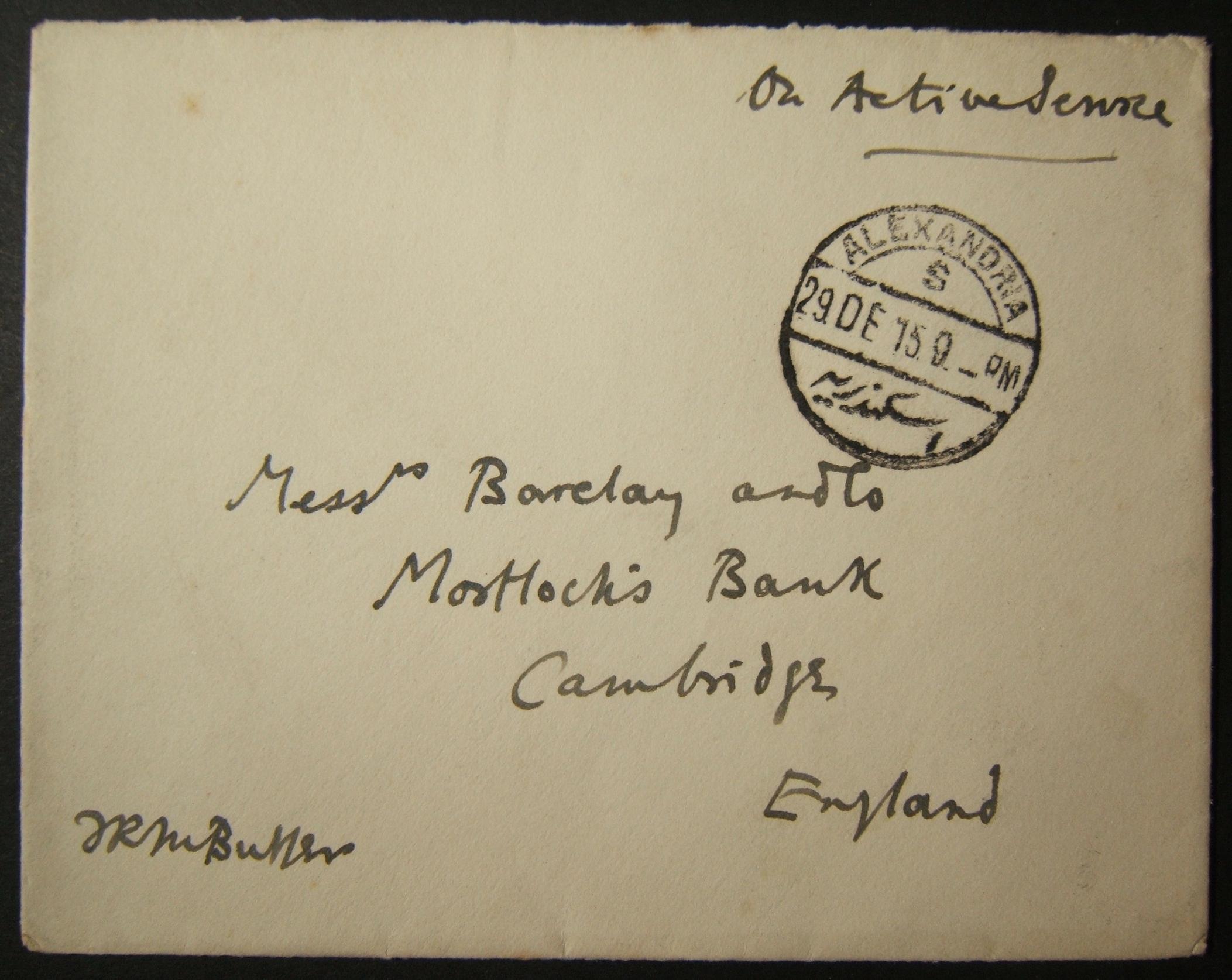 12/1915 WWI unranked דואר צבאי בריטי שנשלח באמצעות הדואר המצרי, עם חותמת הדואר האחרונה