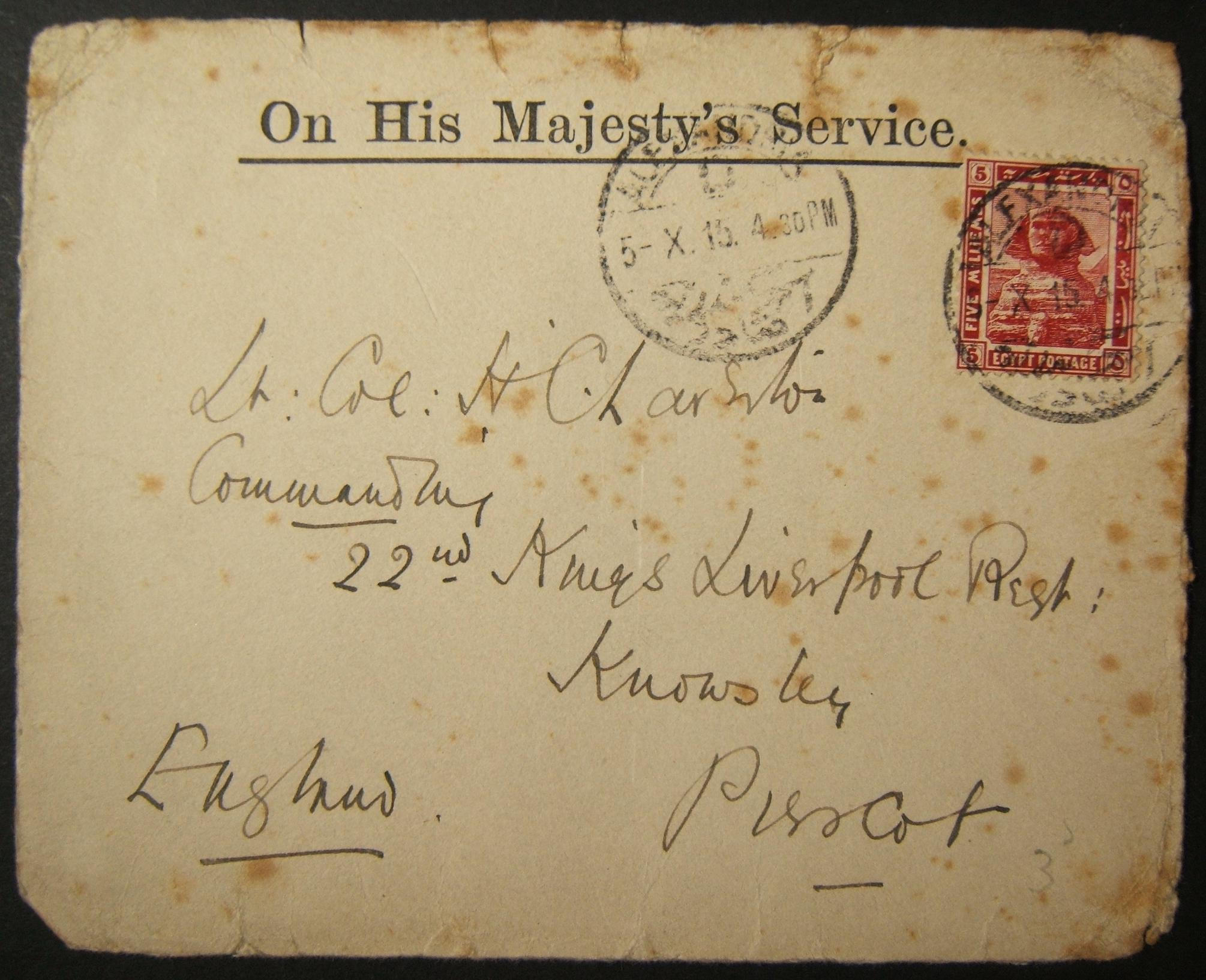 10/1915 WWI franked British civilian mail to UK sent via Egyptian post, with earliest dated postmark