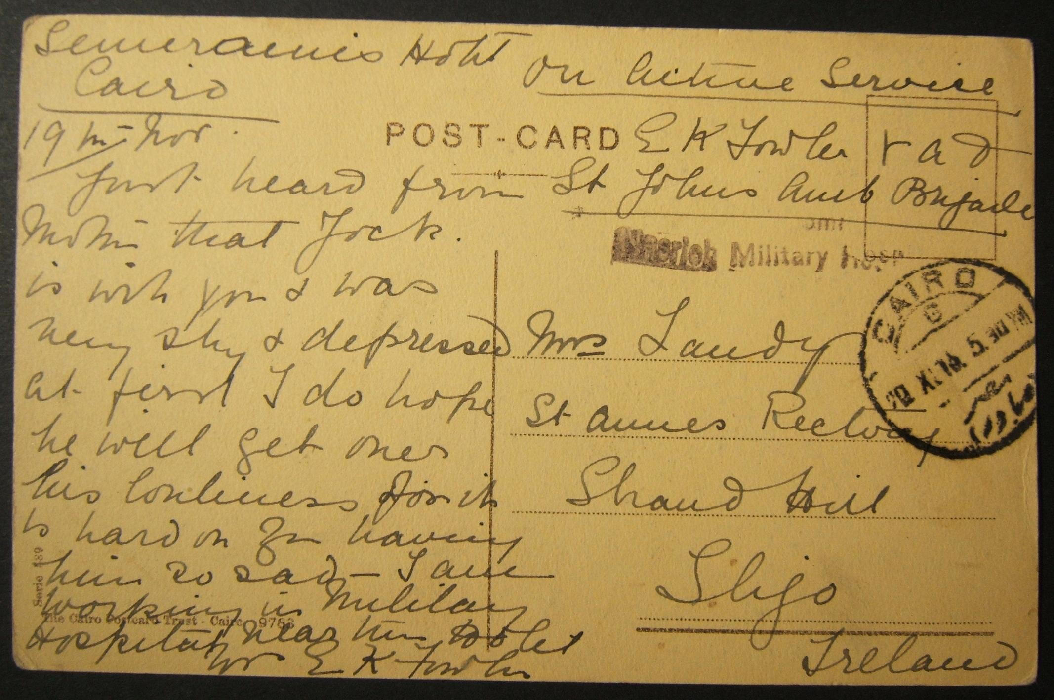 11/1915 WWI unfranked British military mail to Ireland via Egyptian post, with earliest dated postmark & cachet