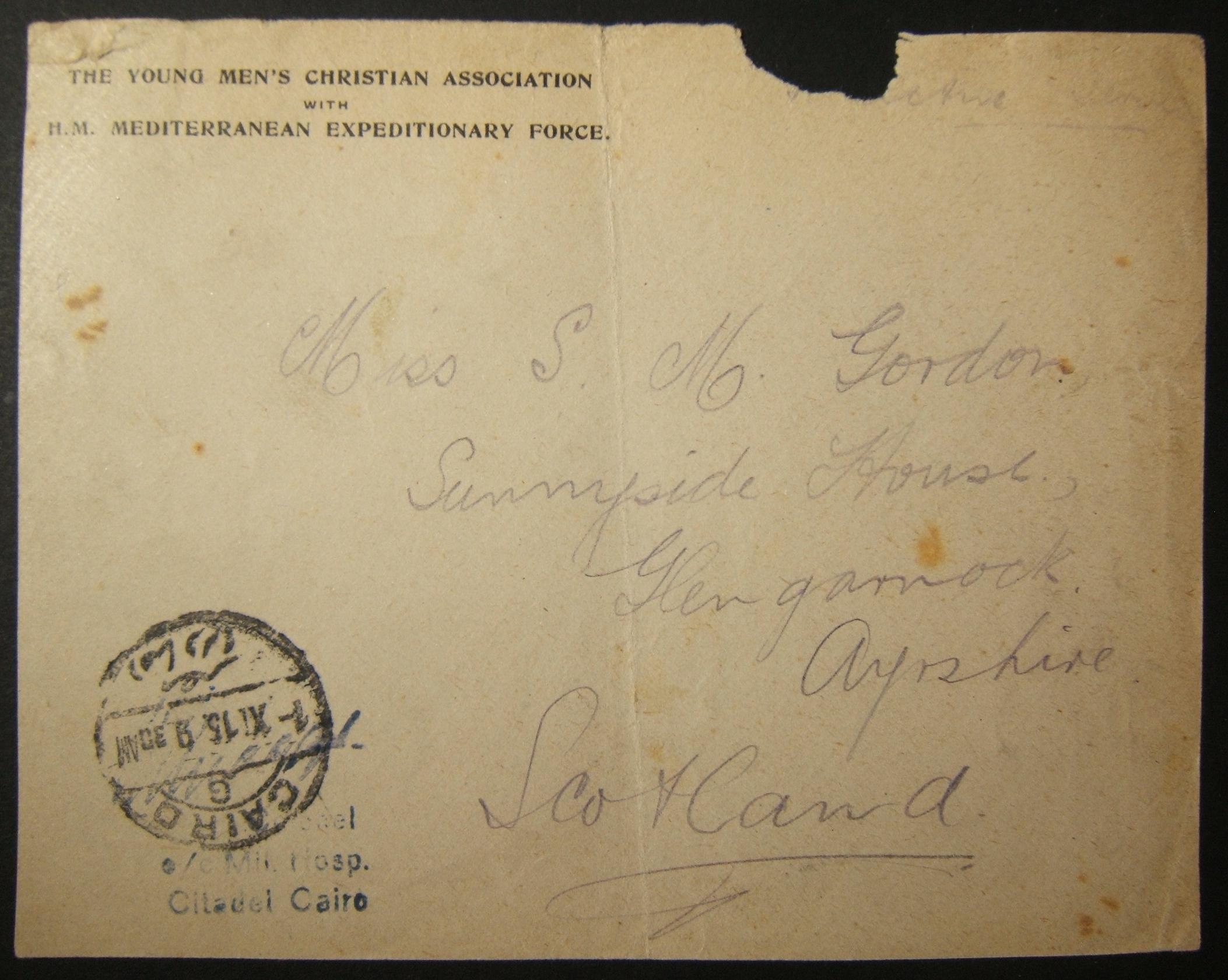 9/1915 WWI unranked הבריטי דואר צבאי בבריטניה דרך הדואר המצרי; חותמת הדואר המתוארכת המוקדמת ביותר + קובץ המטמון של בית החולים