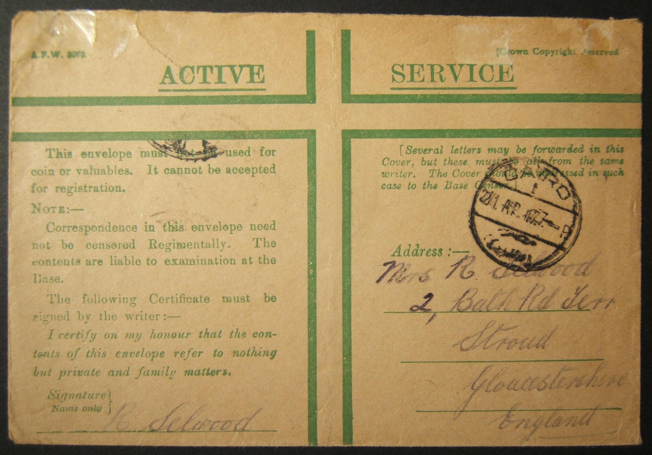 4/1917 WWI unfranked British military mail to UK via Egyptian post; late dated postmark, unusual routing