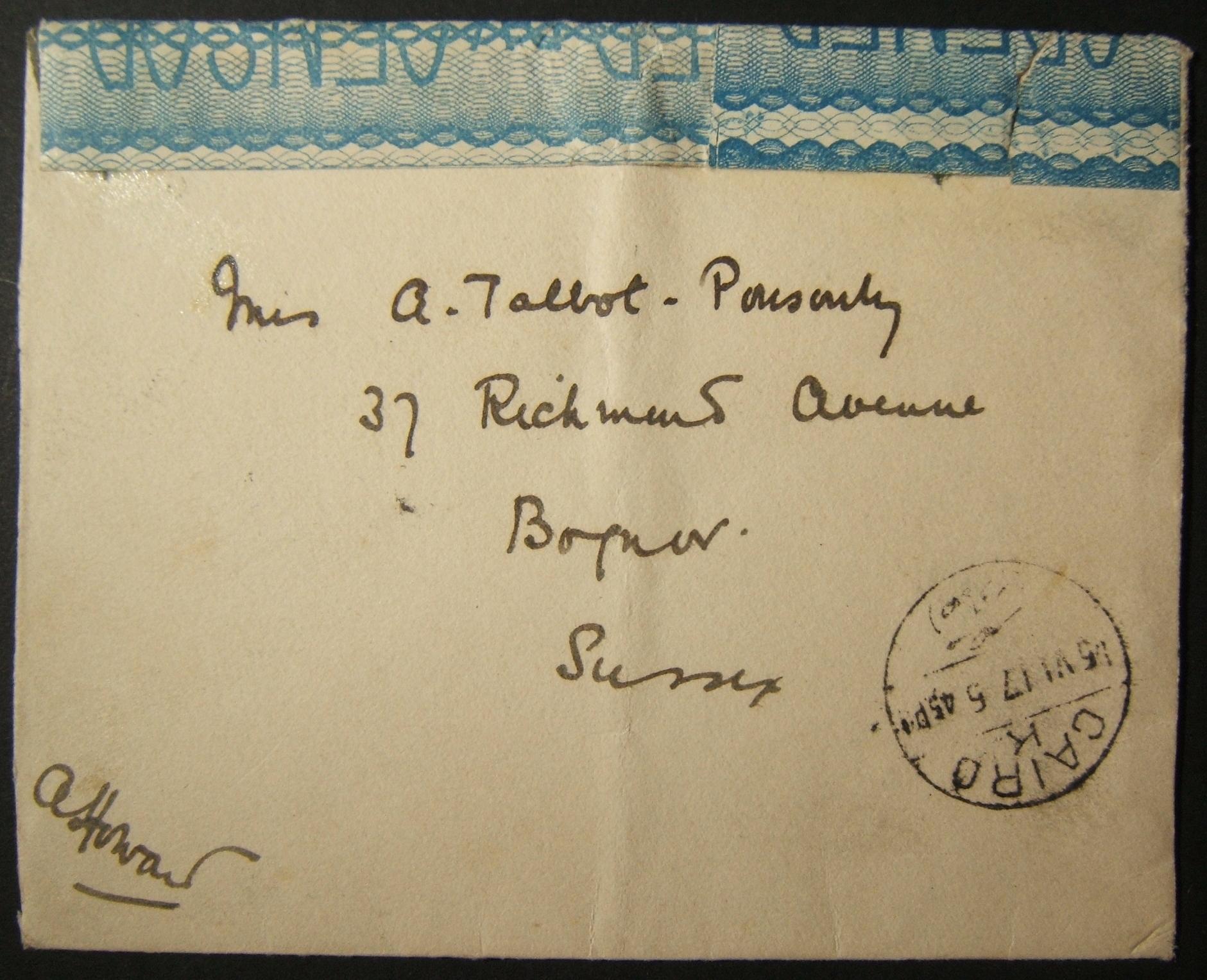 6/1917 بريد WWI البريطاني غير المقيد إلى المملكة المتحدة عبر البريد المصري ؛ أقدم بريد مؤرخ ، وتوجيه غير عادي