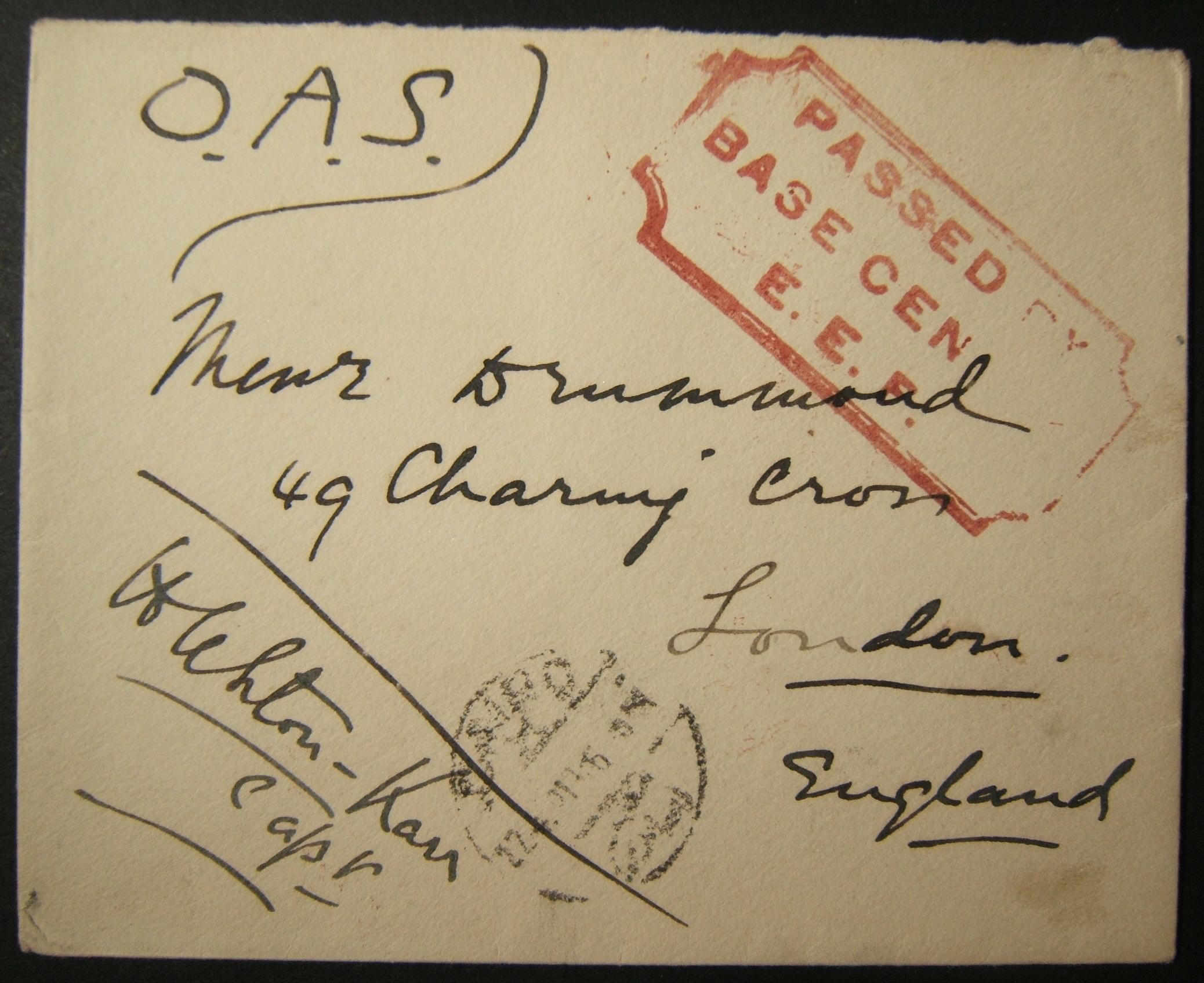 6/1918 WWI unfranked British military mail to UK via Egyptian post; latest dated postmark, unusual routing