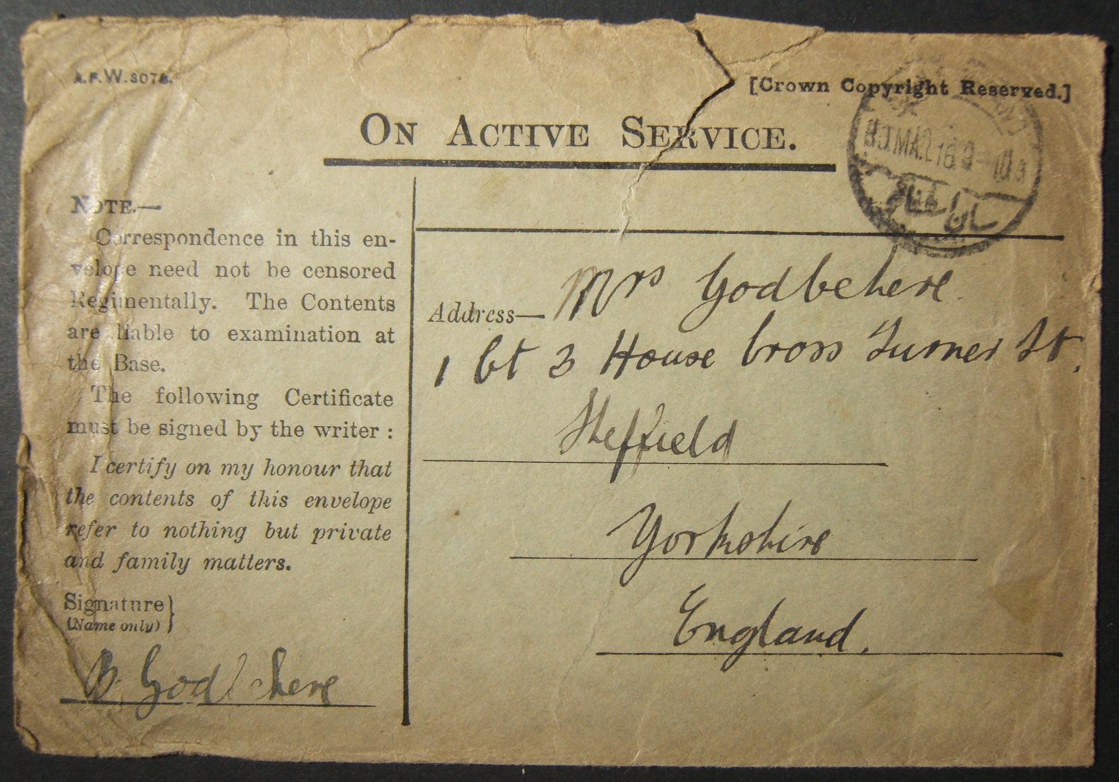 3/1916 WWI unranked הבריטי דואר צבאי בבריטניה דרך הדואר המצרי עם חותמת הדואר המוקדם ביותר