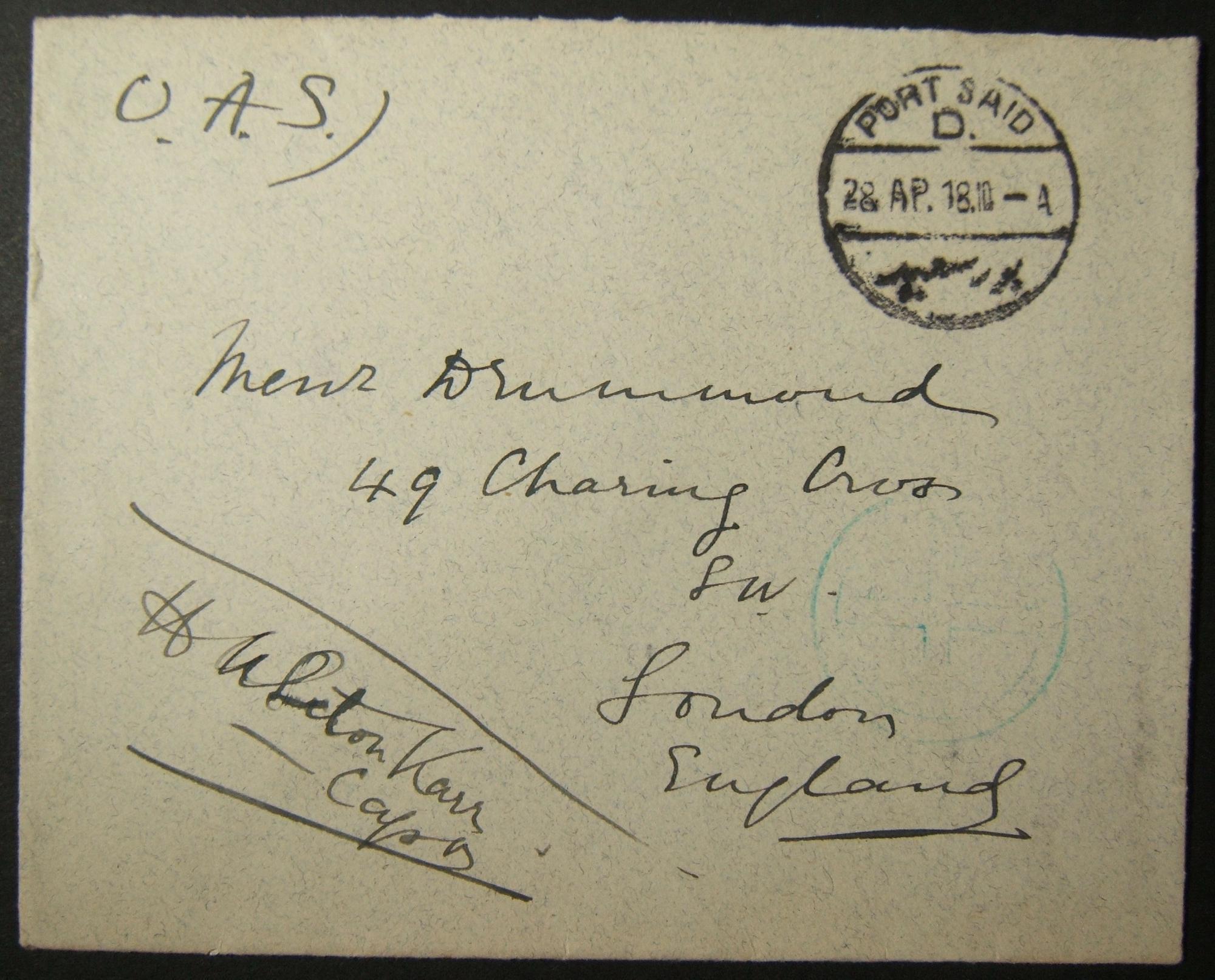 4/1918 إرسال بريد بريطاني عسكري بريطاني إلى المملكة المتحدة عبر البريد المصري مع cachet Union Club ، توجيه غير عادي