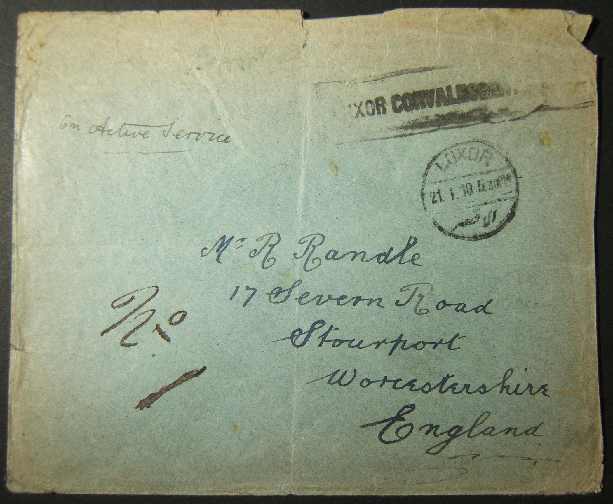 1/1916 WWI unfranked British military mail to UK via Egyptian rail post; earliest dated postmark + cachet