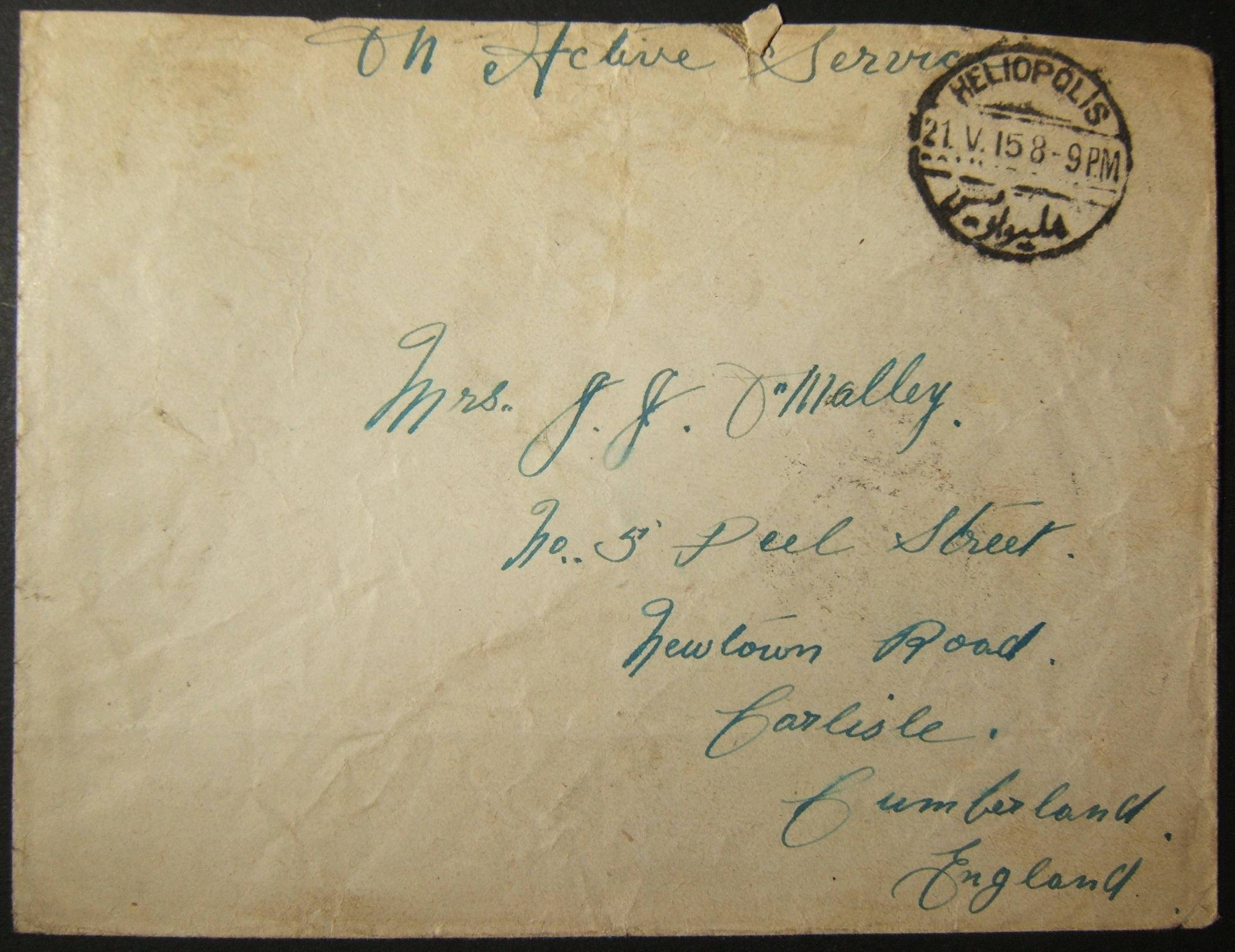 5/1915 WWI unfranked British military mail to UK via Egyptian post; early dated postmark + date error