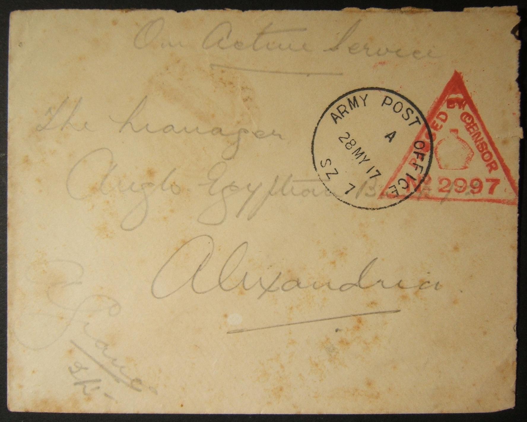5/1917 מלחמת העולם הראשונה מצרים מצליחה לדפוק דואר צבאי בריטי מ- APO SZ 7 (SINAI) לאקסנדריה