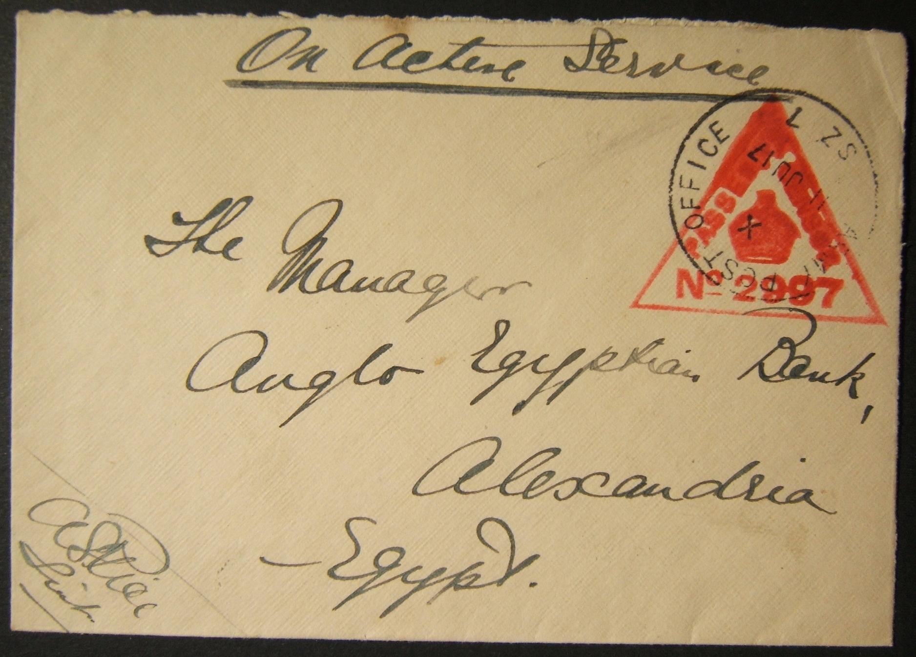 7/1917 WWI مصر تقوم بطرد بريد عسكري بريطاني من APO SZ 7 (SINAI) إلى ألكسندريا
