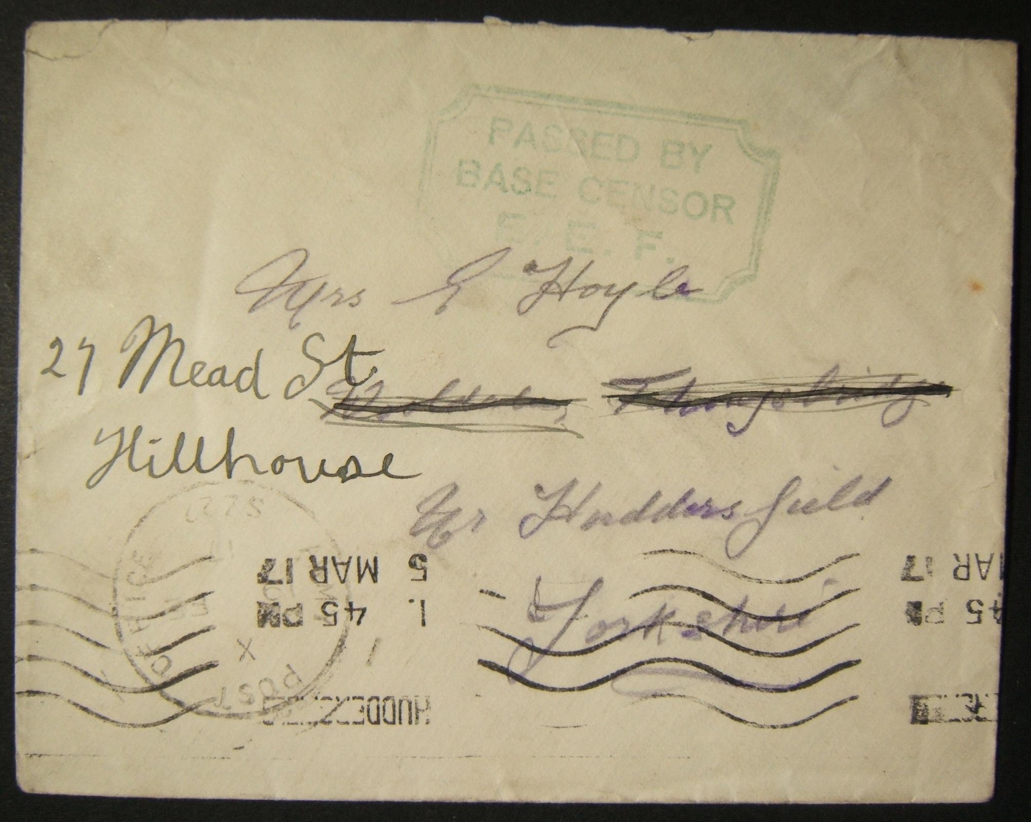 2/1917 WWI Ägypten Britische Militärpost nach Großbritannien mit dem neuesten bekannten Stempel APO SZ 22
