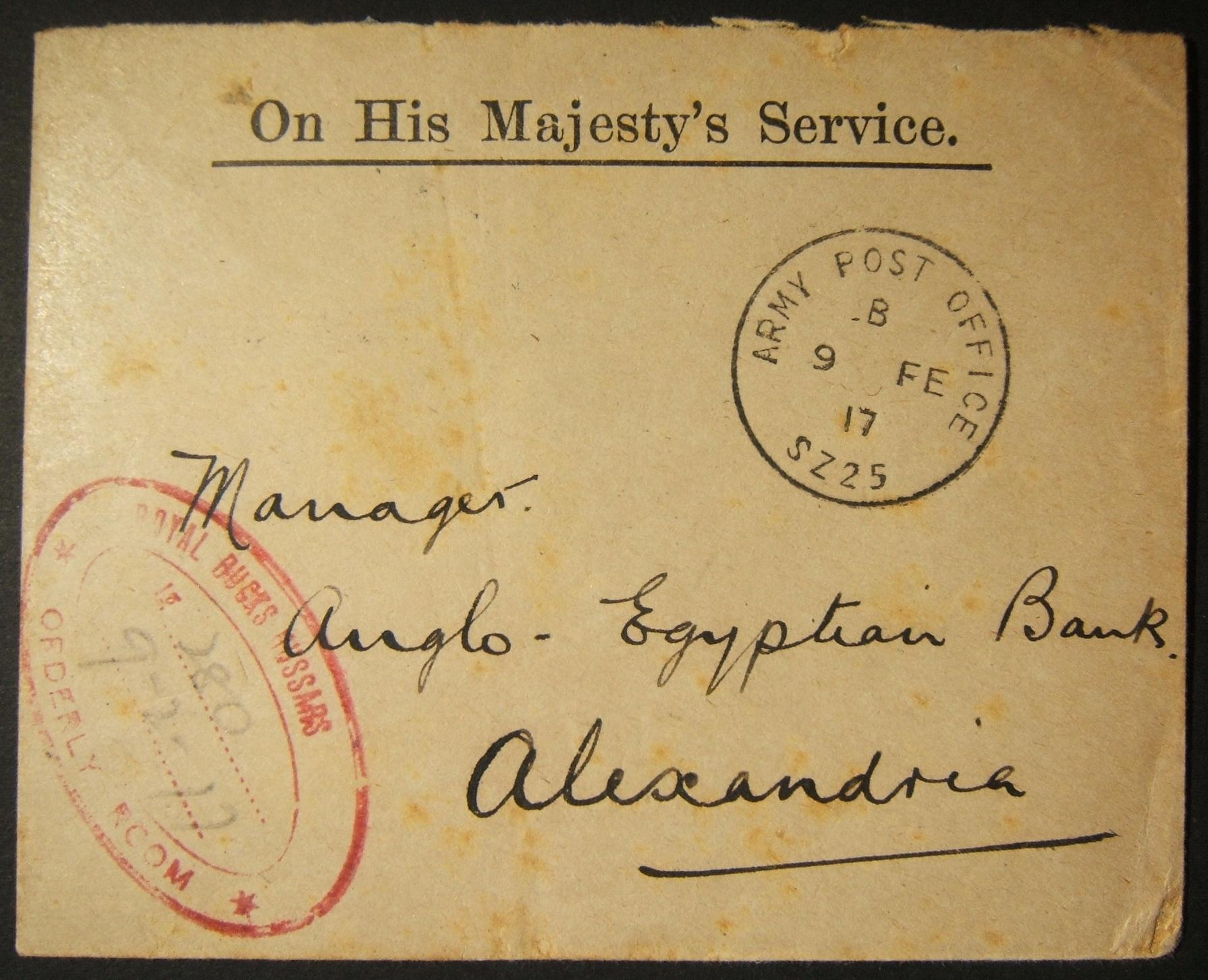 British WWI military mail in Egypt: 9 FE 1917 stampless OHMS stationary cv. ex APO SZ 25 (SUEZ CANAL) to APB ALEXANDRIA, tied by full strike of Proud-D1 State1 pmk over a month aft