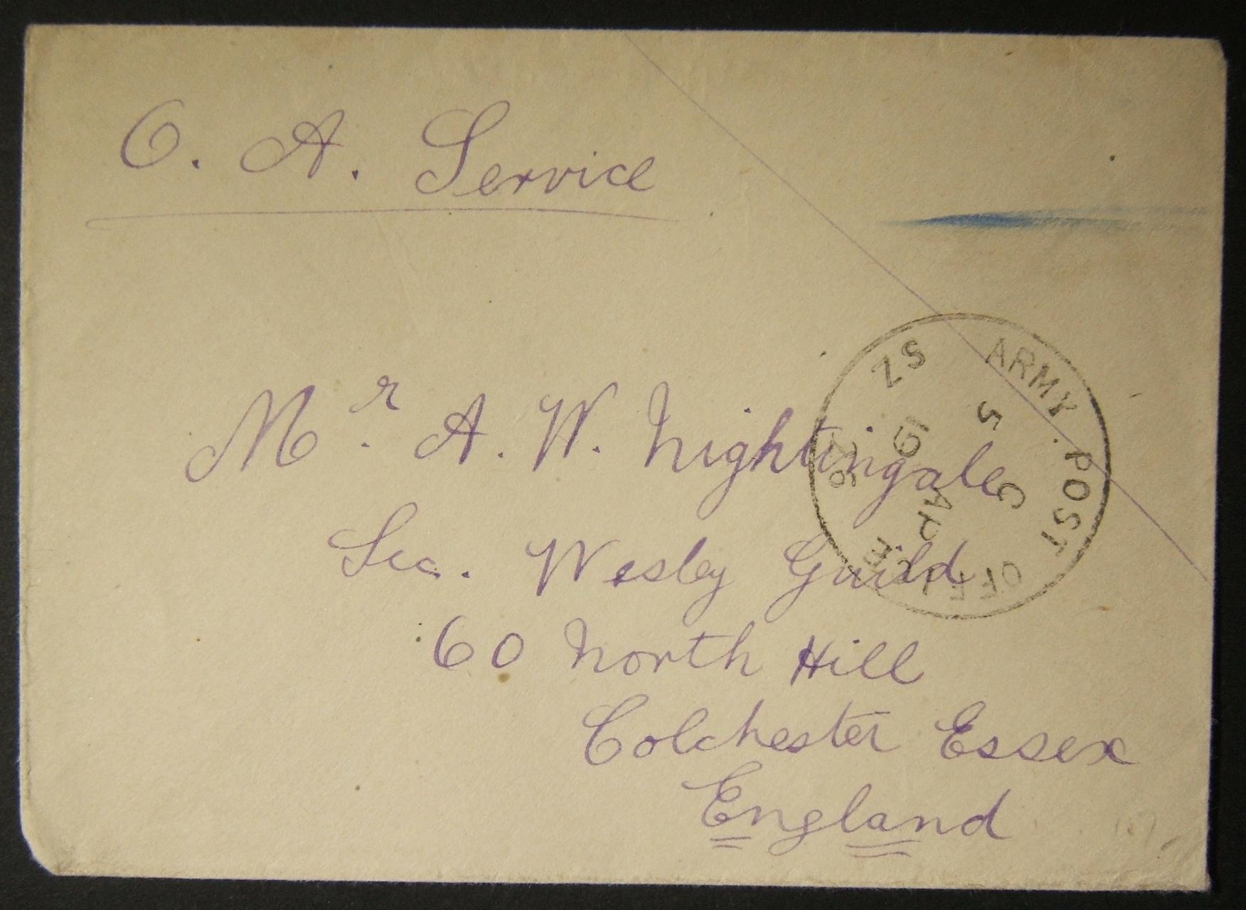 4/1919 WWI מצרים דואר צבאי בריטי עם APO SZ 26 חותמת דואר ביום 1 של שימוש