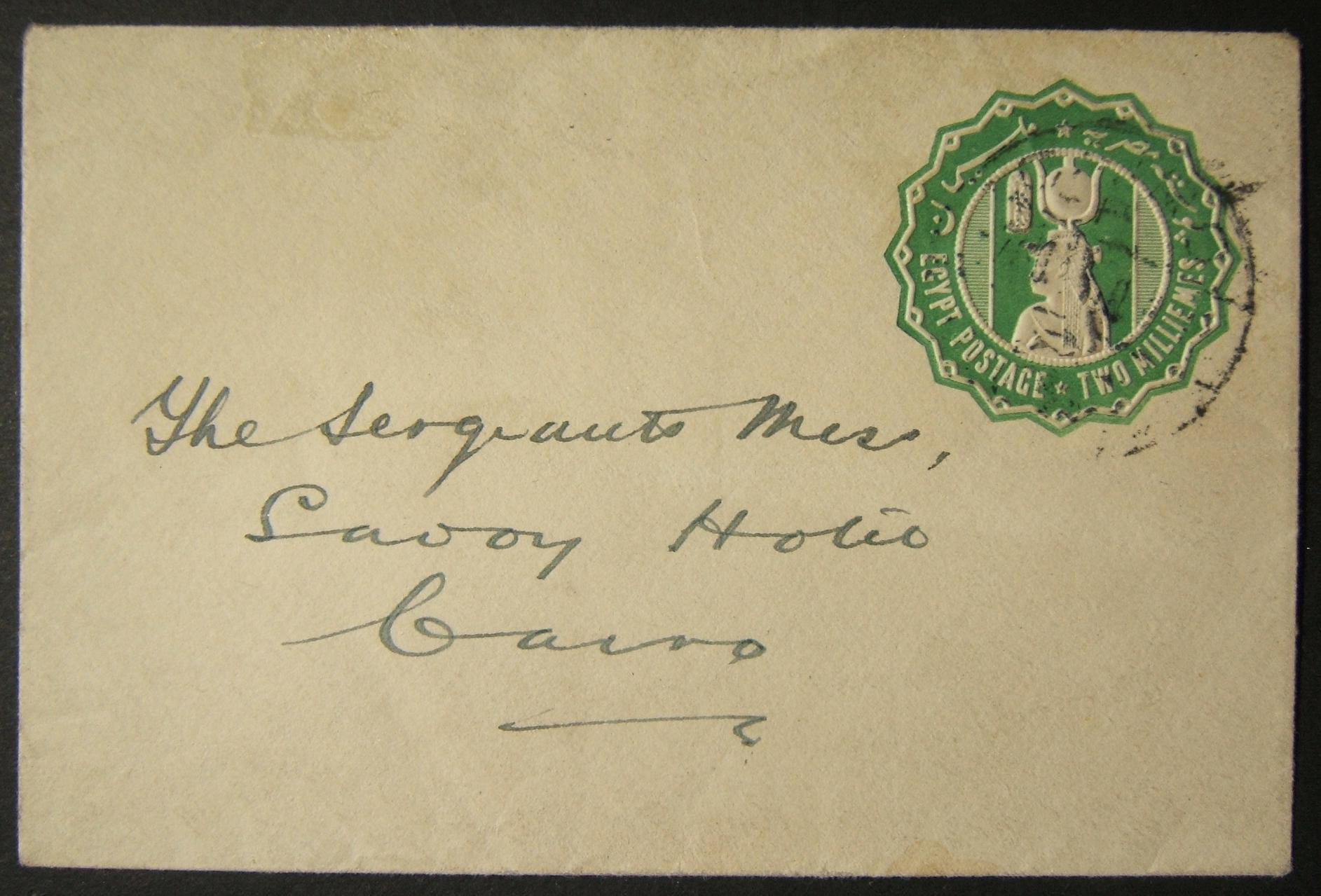 British WWI military mail in Egypt: 8 NO 1919 local CAIRO embossed pp'd stationary printed matter cv to Sergeants Mess at Savoy Hotel, pre-franked 2m & tied by local civilian PO pm