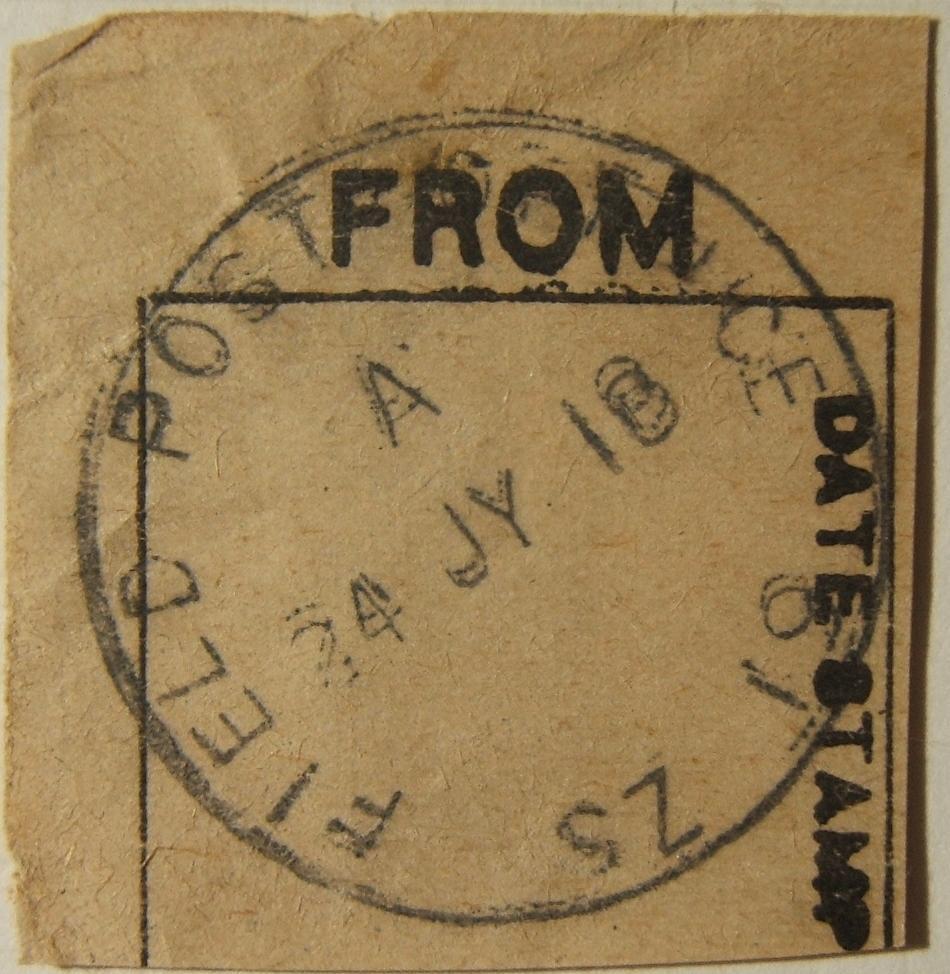7/1918 WWI פלשתינה צבא צבאי בריטי APO SZ 19 חותמת דואר לא רשומה על ניתוק