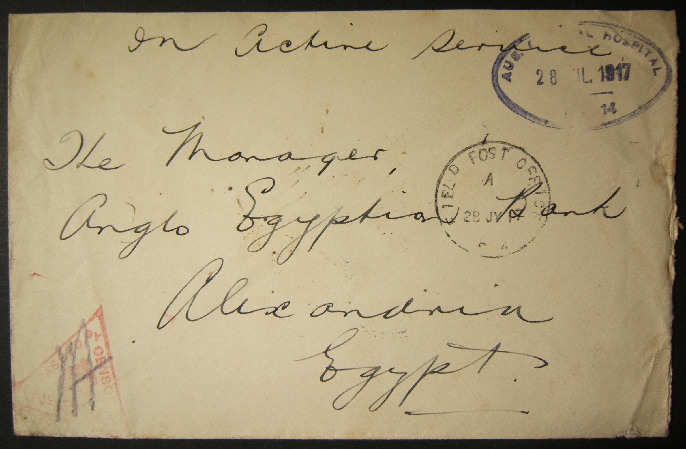 7/1917 WWI מצרים דואר צבאי אוסטרלי מ- ABBASSIA דרך FPO F2 + cachet החולים