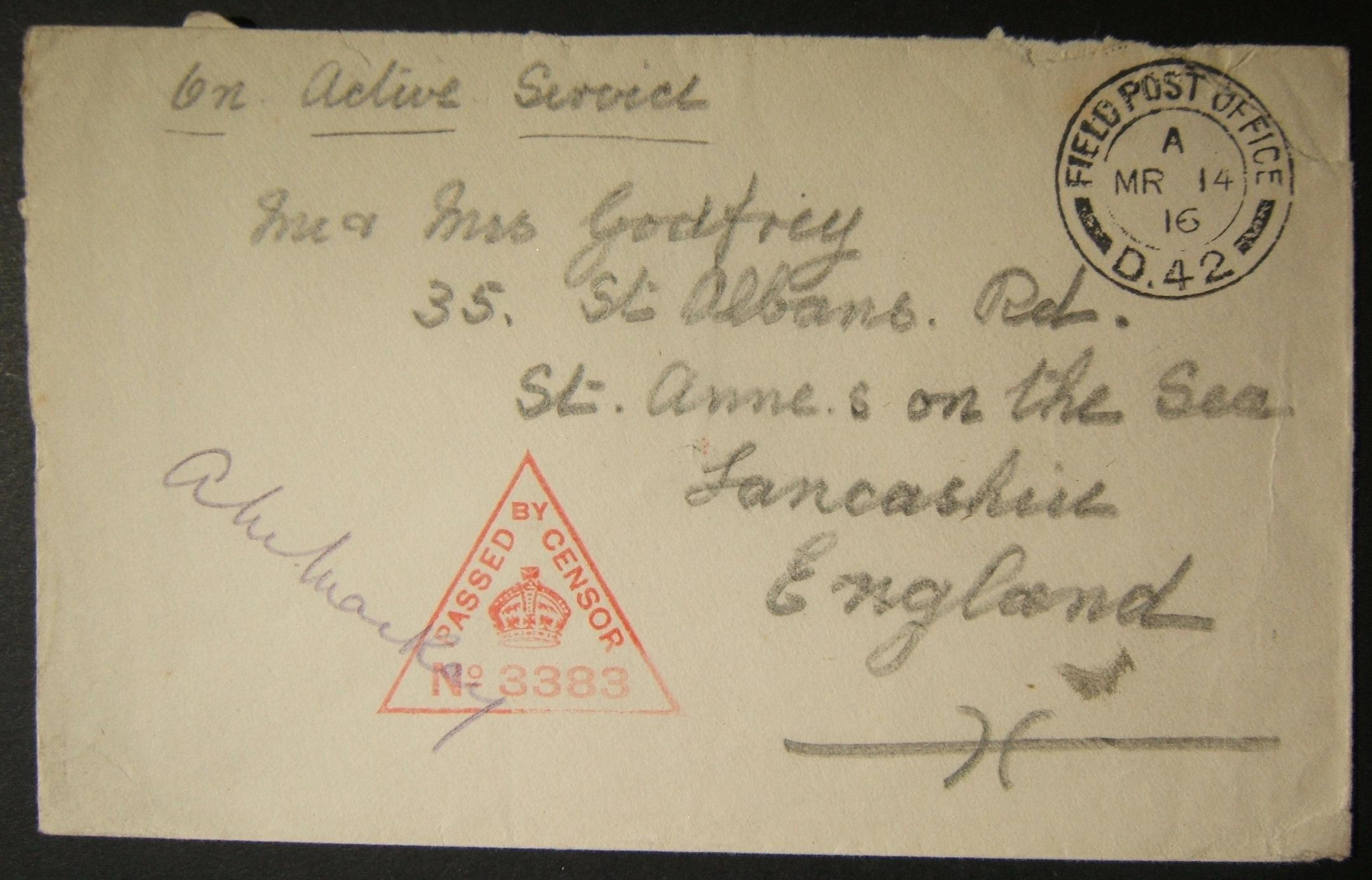 3/1916 WWI Egypt British military mail from FPO D42 (42nd Division, SUEZ) to UK